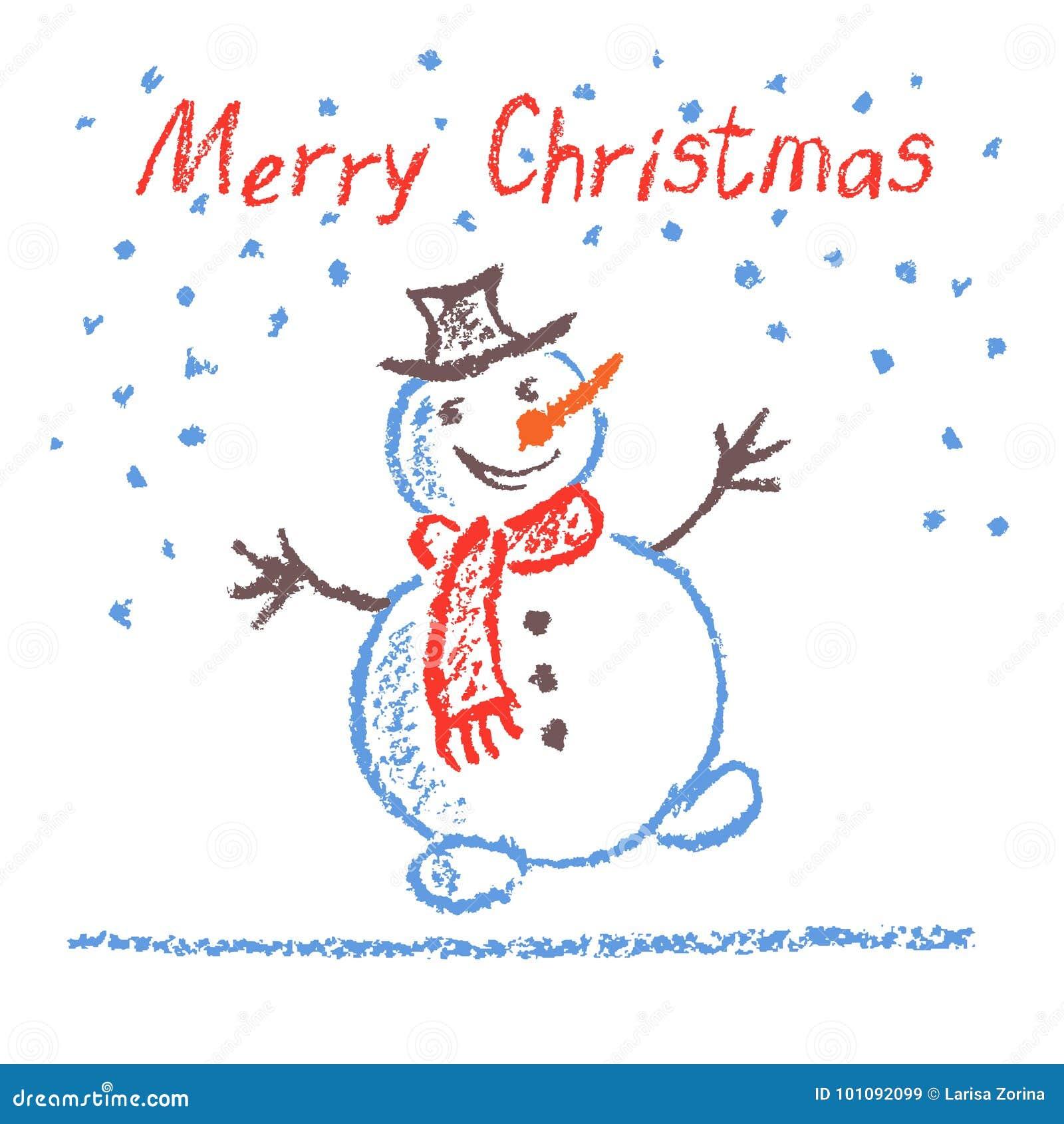 Zeichnen Sie das Kind-` s, das lustigen Schneemann der frohen Weihnachten mit Beschriftung auf Weiß zeichnet