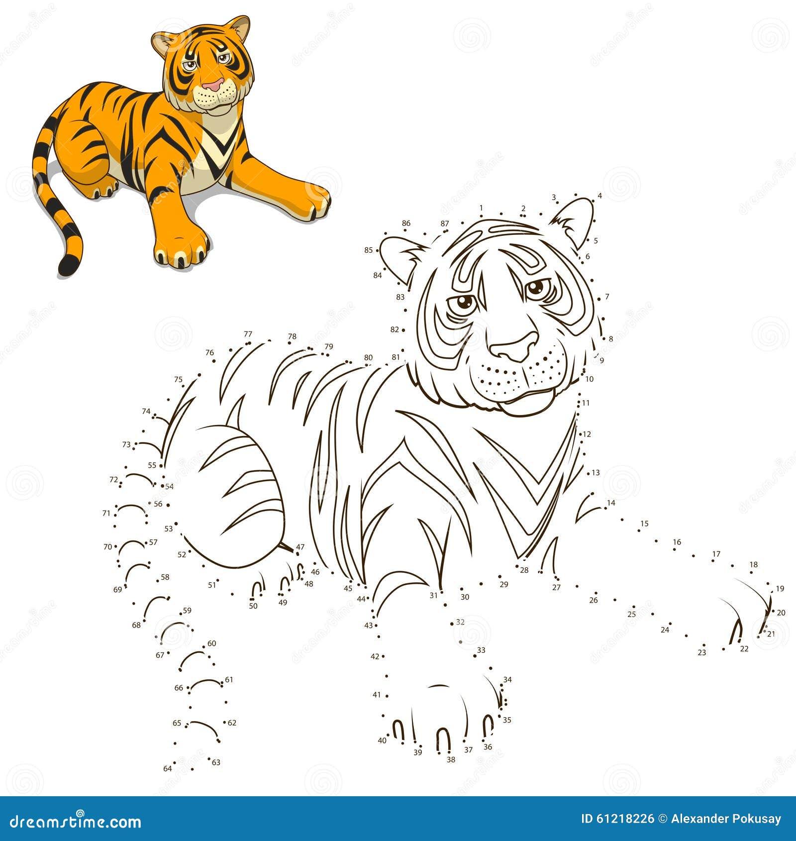 Zeichnen Sie Den Tiertigerlernspielvektor Vektor Abbildung