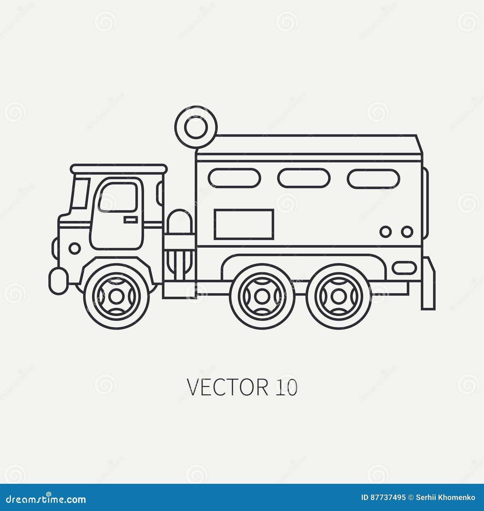 Zeichnen Sie Der Vektorikone Der Flachen Ebene Lastwagen