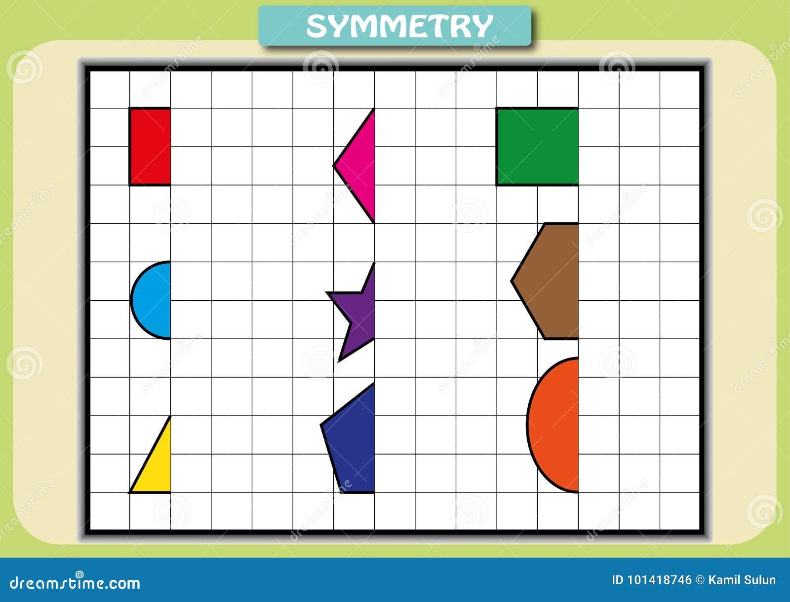Zeichnen Sie Die Andere Hälfte Von Jedem Symmetrische Bilder Stock ...