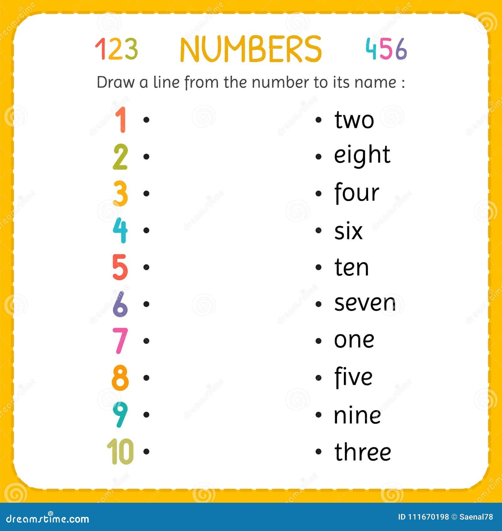 Zeichnen Sie Eine Linie Von Der Zahl Zu Seinem Namen Zahlen Fur