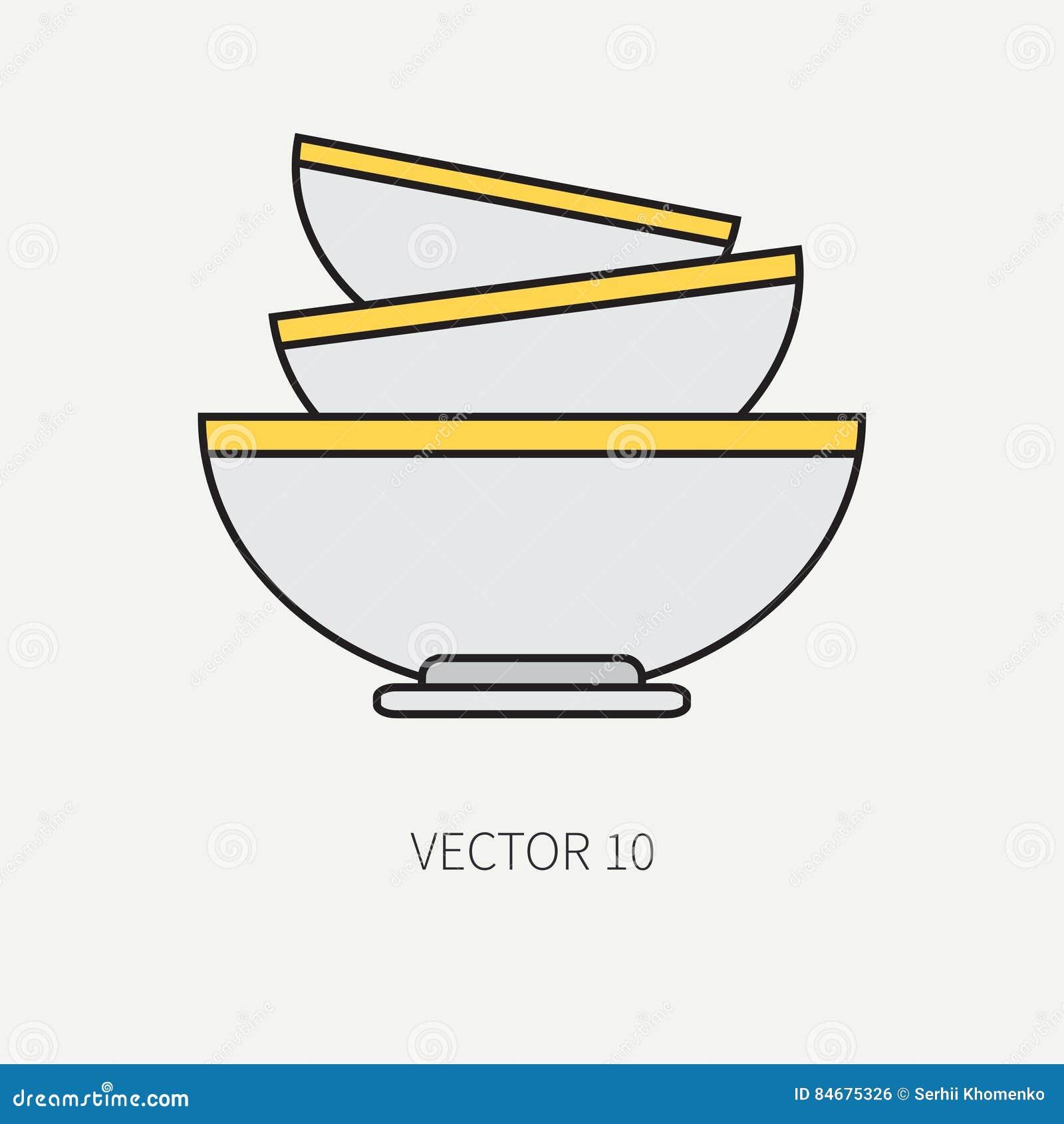 Zeichnen Sie Flache Farbvektor Kuchengeschirrikonen Schussel Teller Tischbesteckwerkzeuge Uberlagert Einfach Zu Bearbeiten Il Vektor Abbildung Illustration Von Zeichnen Farbvektor 84675326