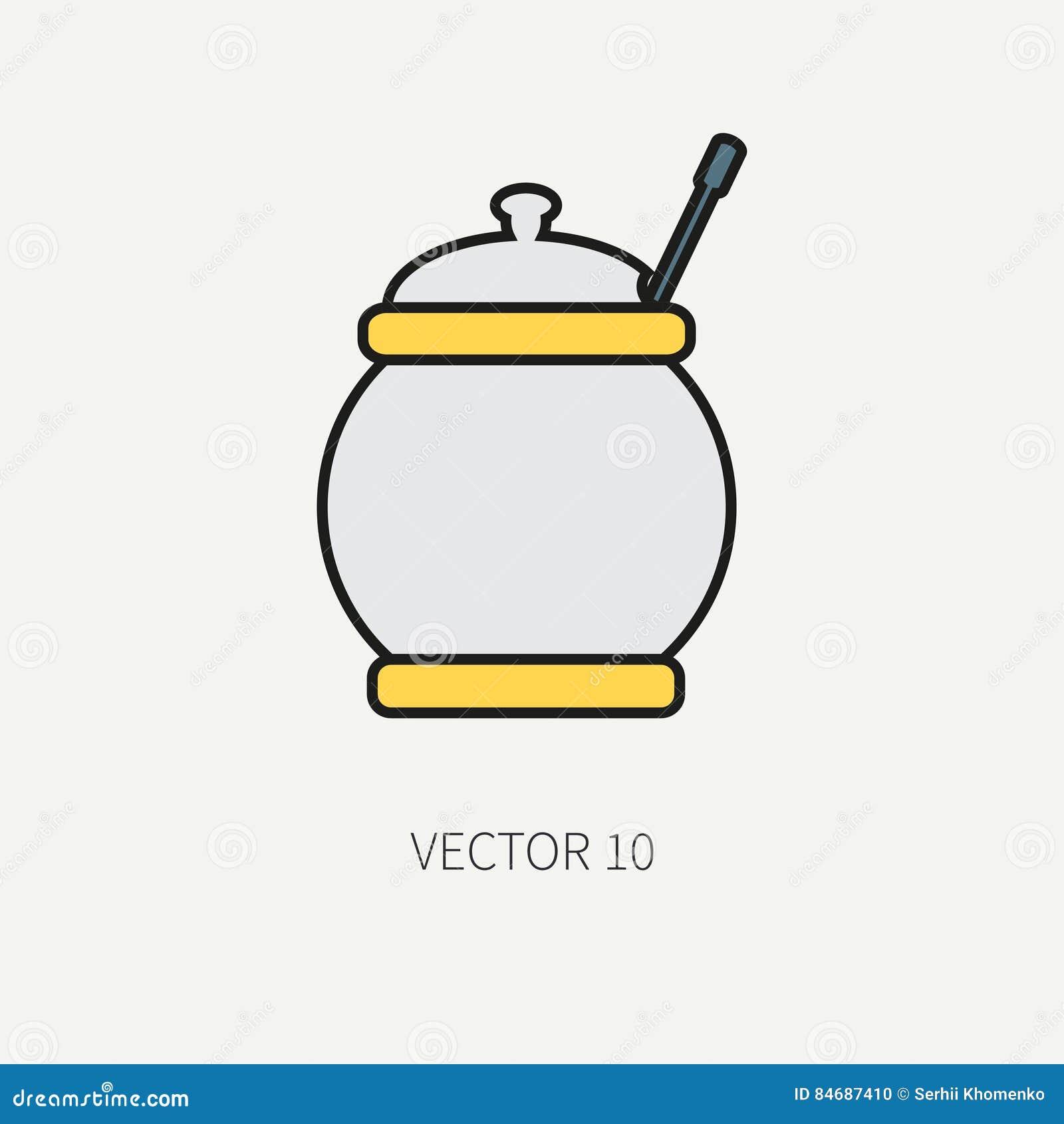 Zeichnen Sie Flache Farbvektor Kuchengeschirrikonen Zuckerschussel Tischbesteckwerkzeuge Uberlagert Einfach Zu Bearbeiten Illu Vektor Abbildung Illustration Von Bearbeiten Farbvektor 84687410
