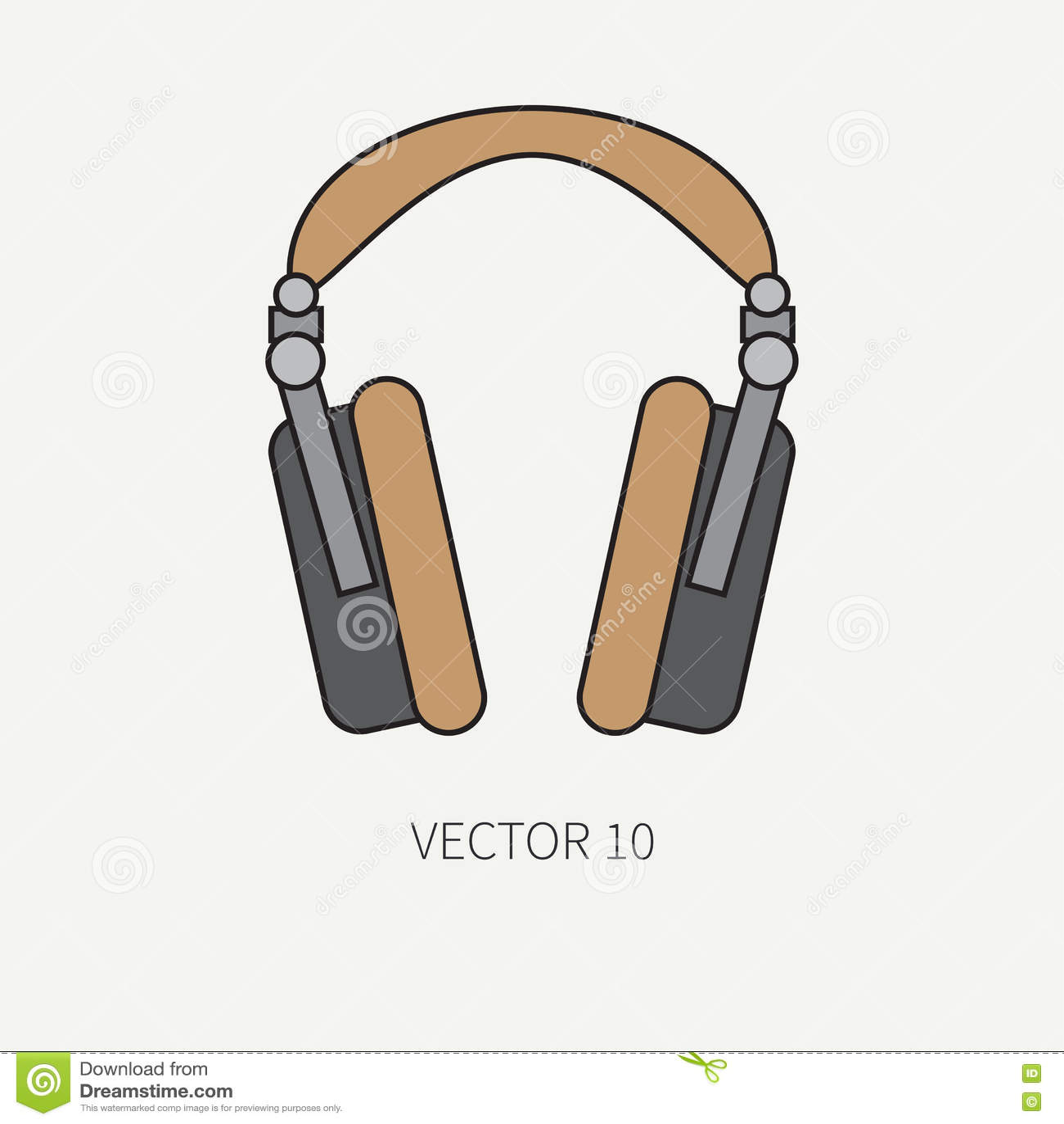 Zeichnen Sie Flache Vektorikone Mit Retro Elektrischem Audiogerat