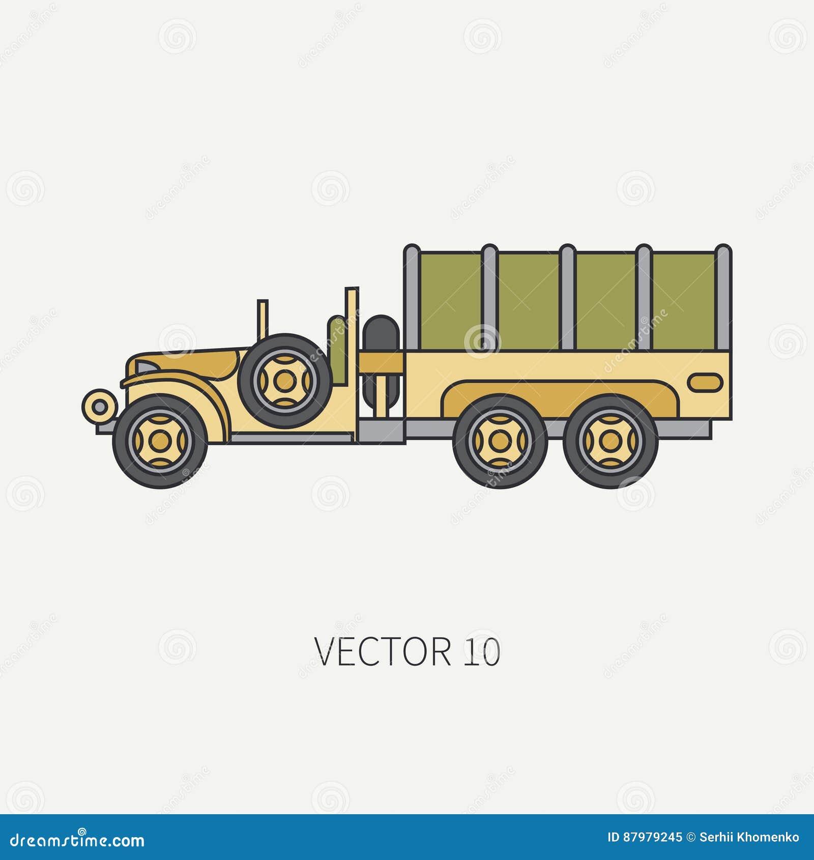 Zeichnen Sie Flachen Farbvektorikonenplanenlastwagen Armee