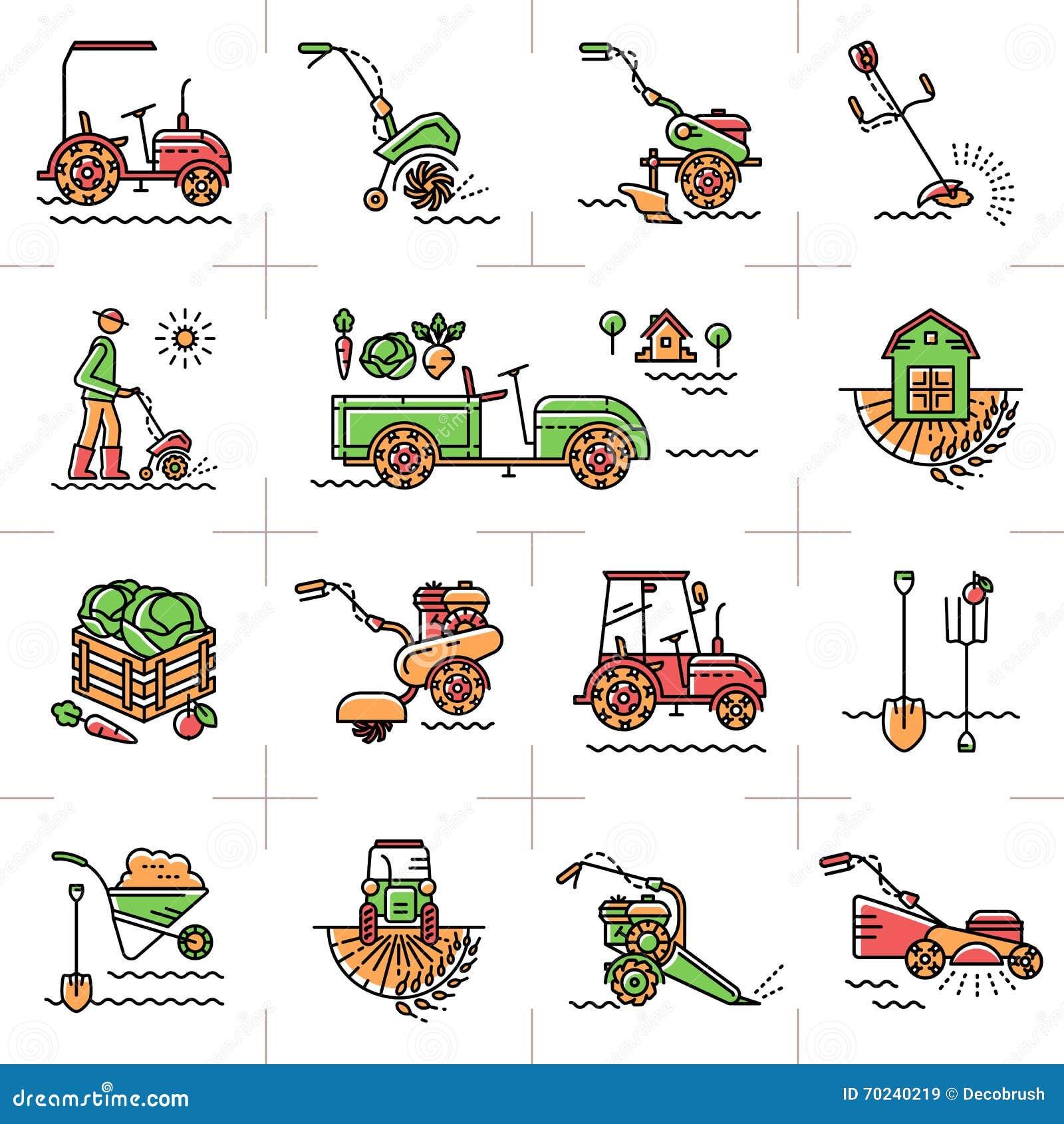 Zeichnen sie gartenwerkzeuge der landwirtschaftlichen for Outil de jardinage p
