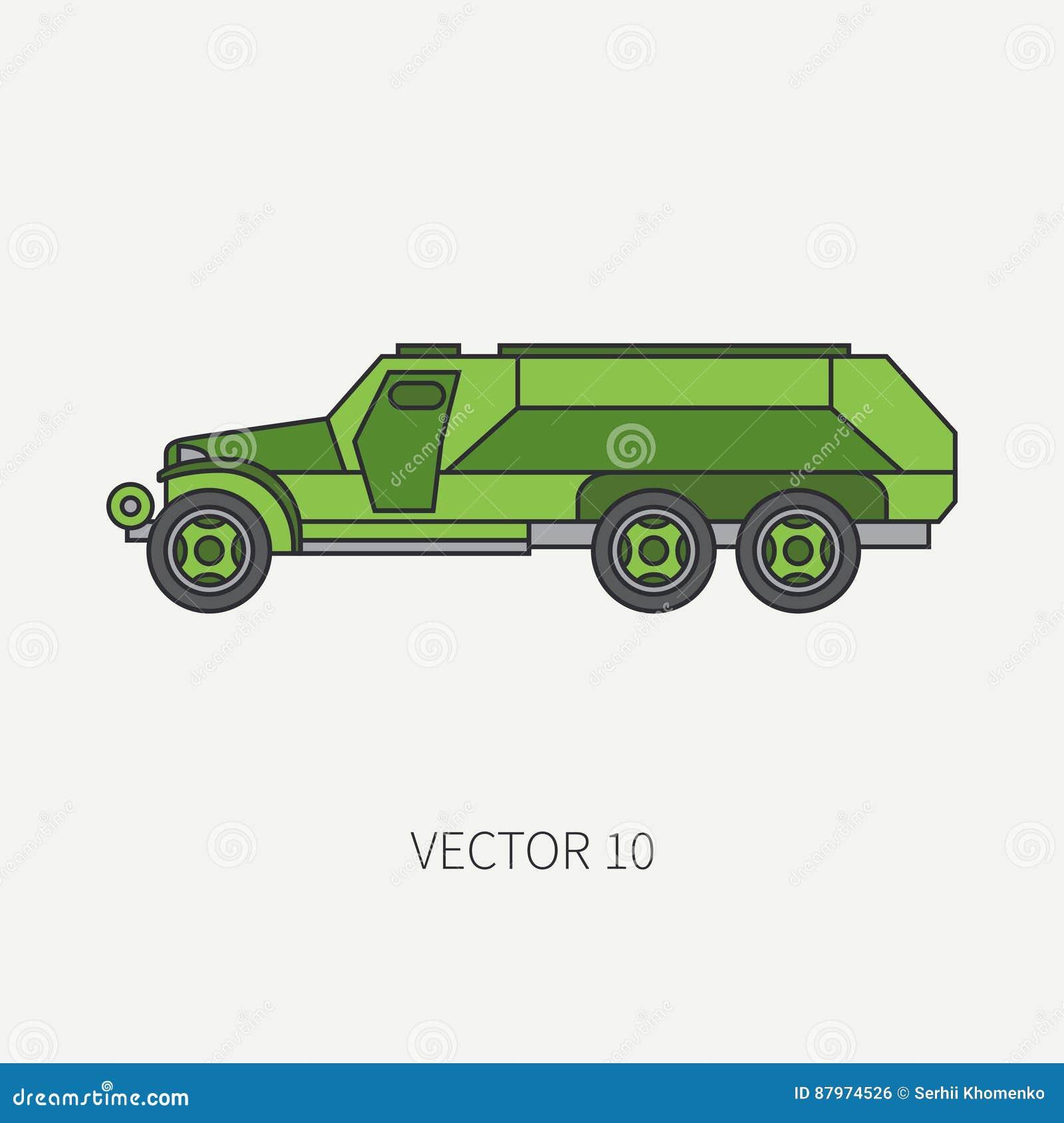 Zeichnen Sie Gepanzerten Armee Lkw Des Flachen