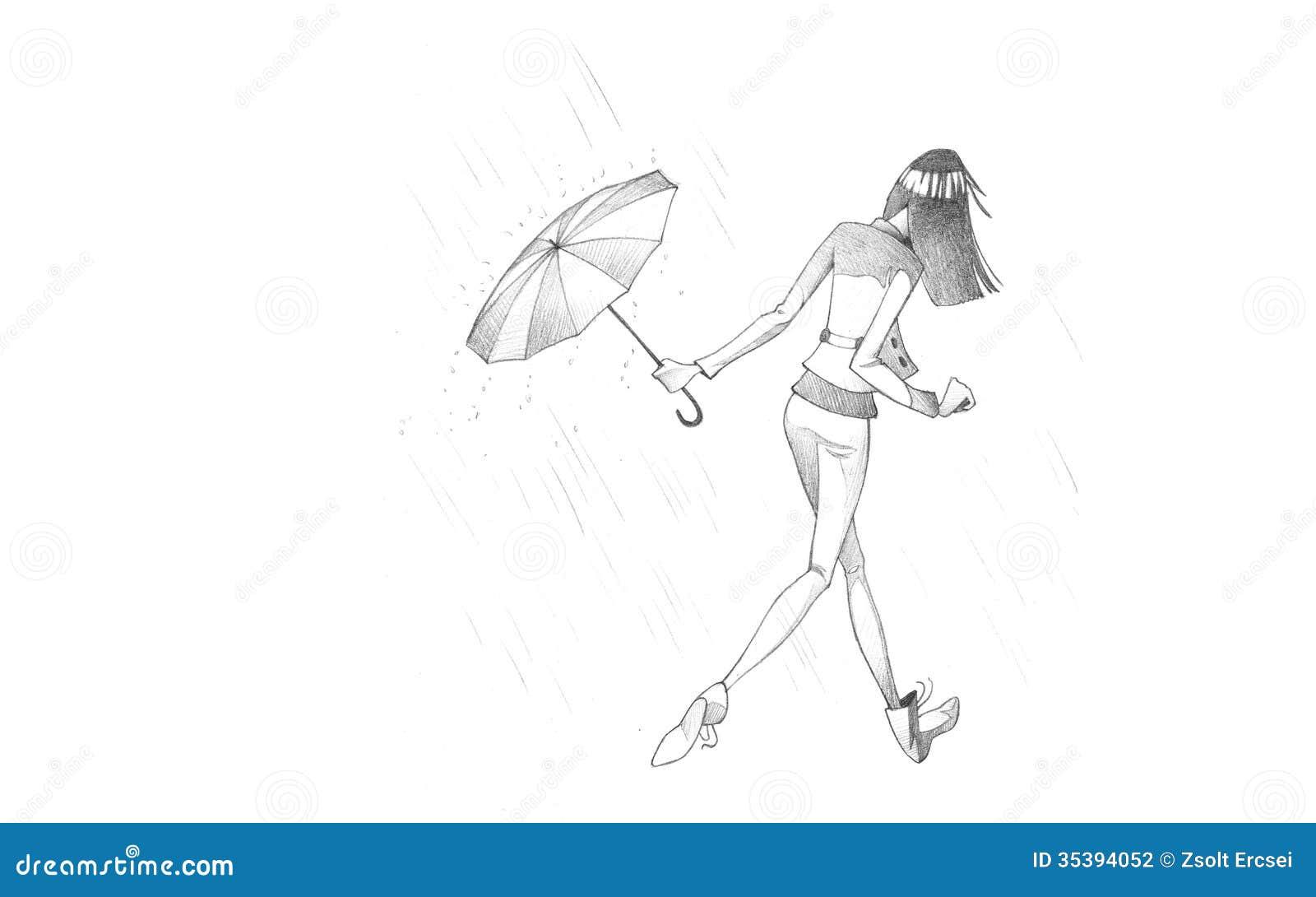 Zeichnen Sie Illustration An Das Zeichnen Der Jungen Frau
