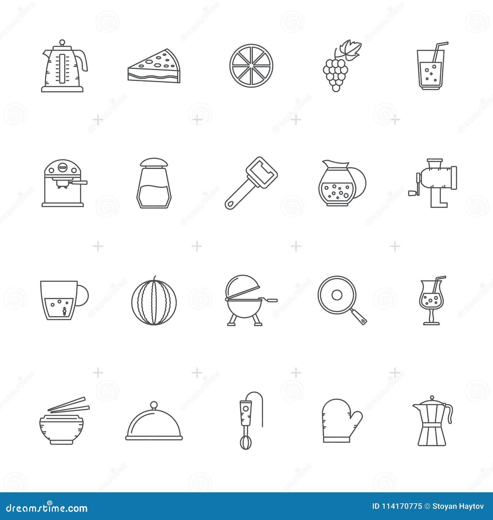 Zeichnen Sie Lebensmittel Getrank Und Kuchenausrustungsikonen 1 Vektor Abbildung Illustration Von Kuchenausrustungsikonen Lebensmittel 114170775