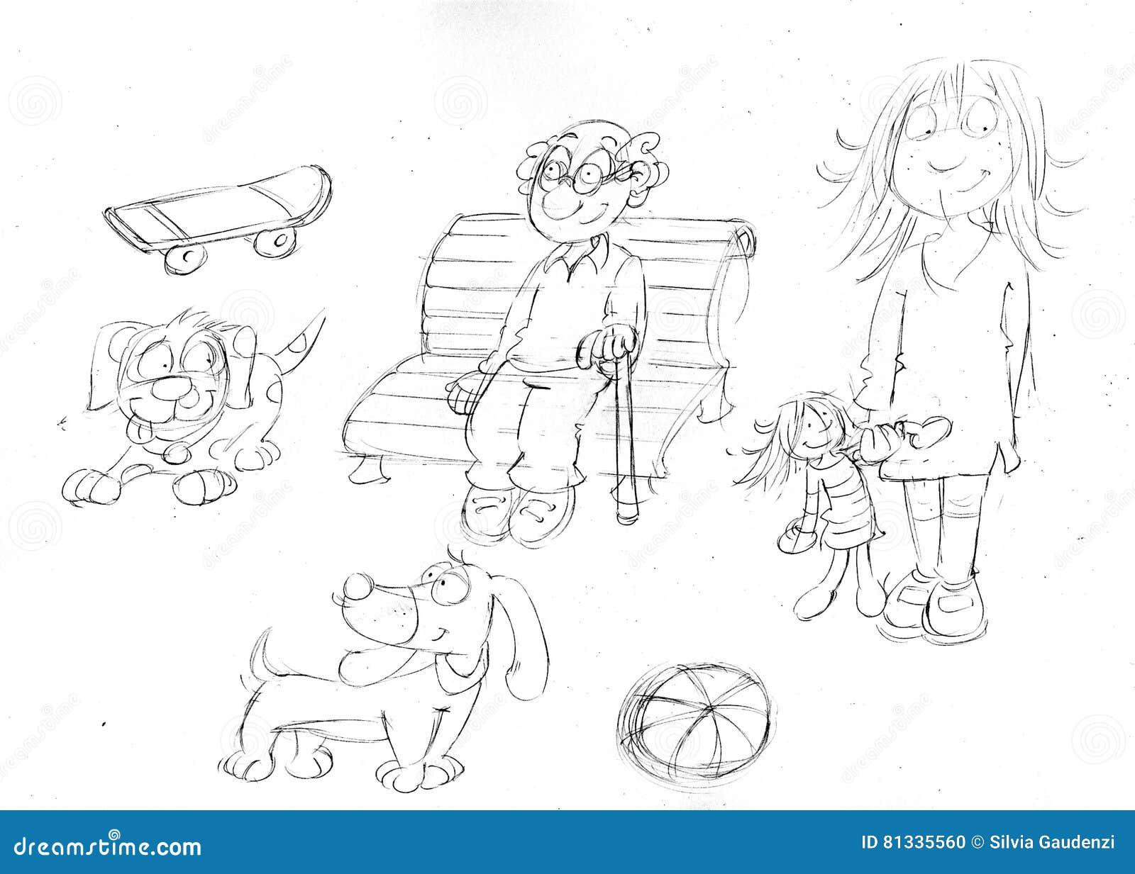 Zeichnen Sie Sketchespencil Skizzen Von Kleinen Hunden Mit Puppe ...