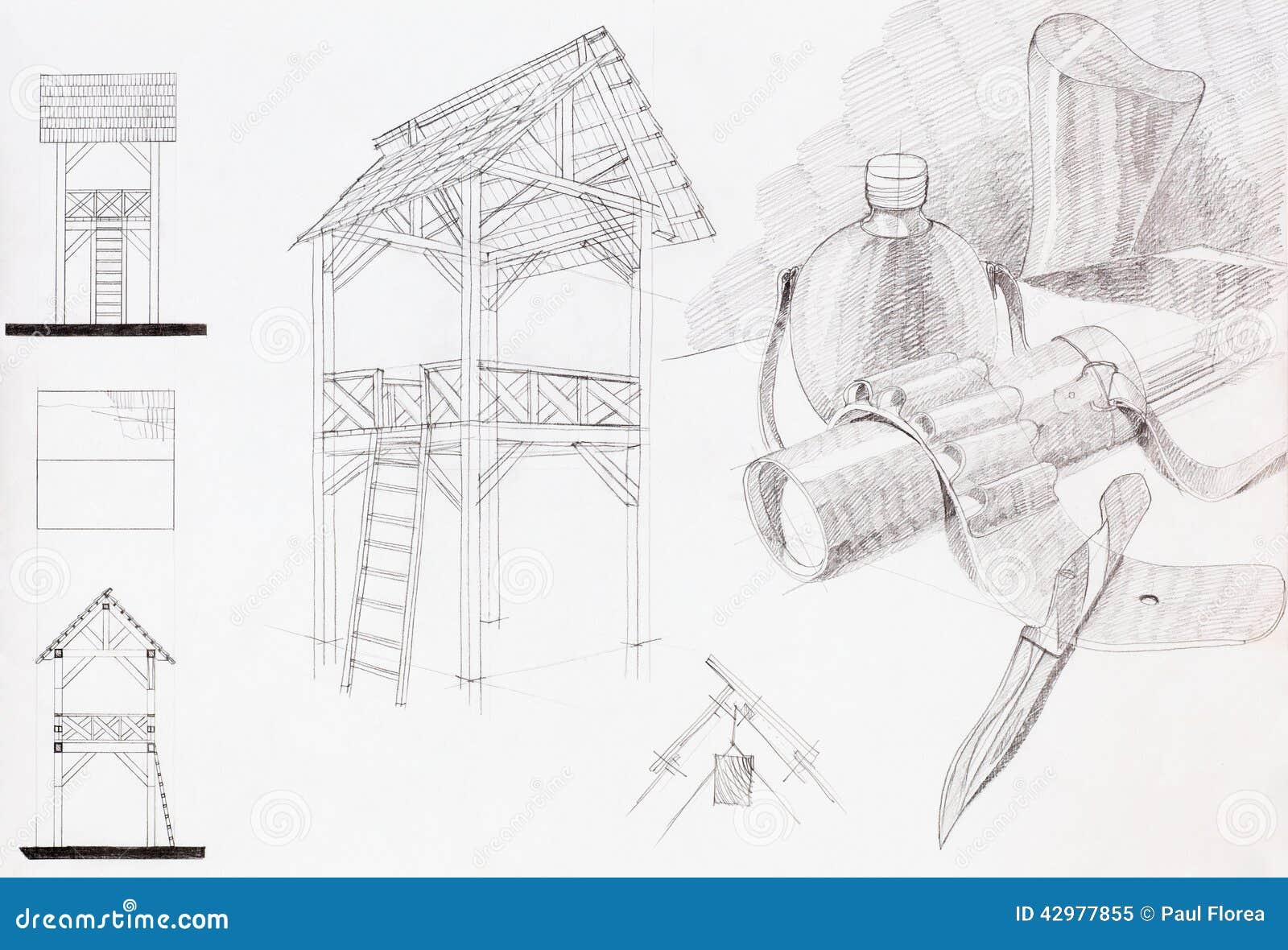 Download Zeichnen Sie Skizze Des Pavillons Und Der Zusammensetzung Mit Gegenstanden An Stock Abbildung