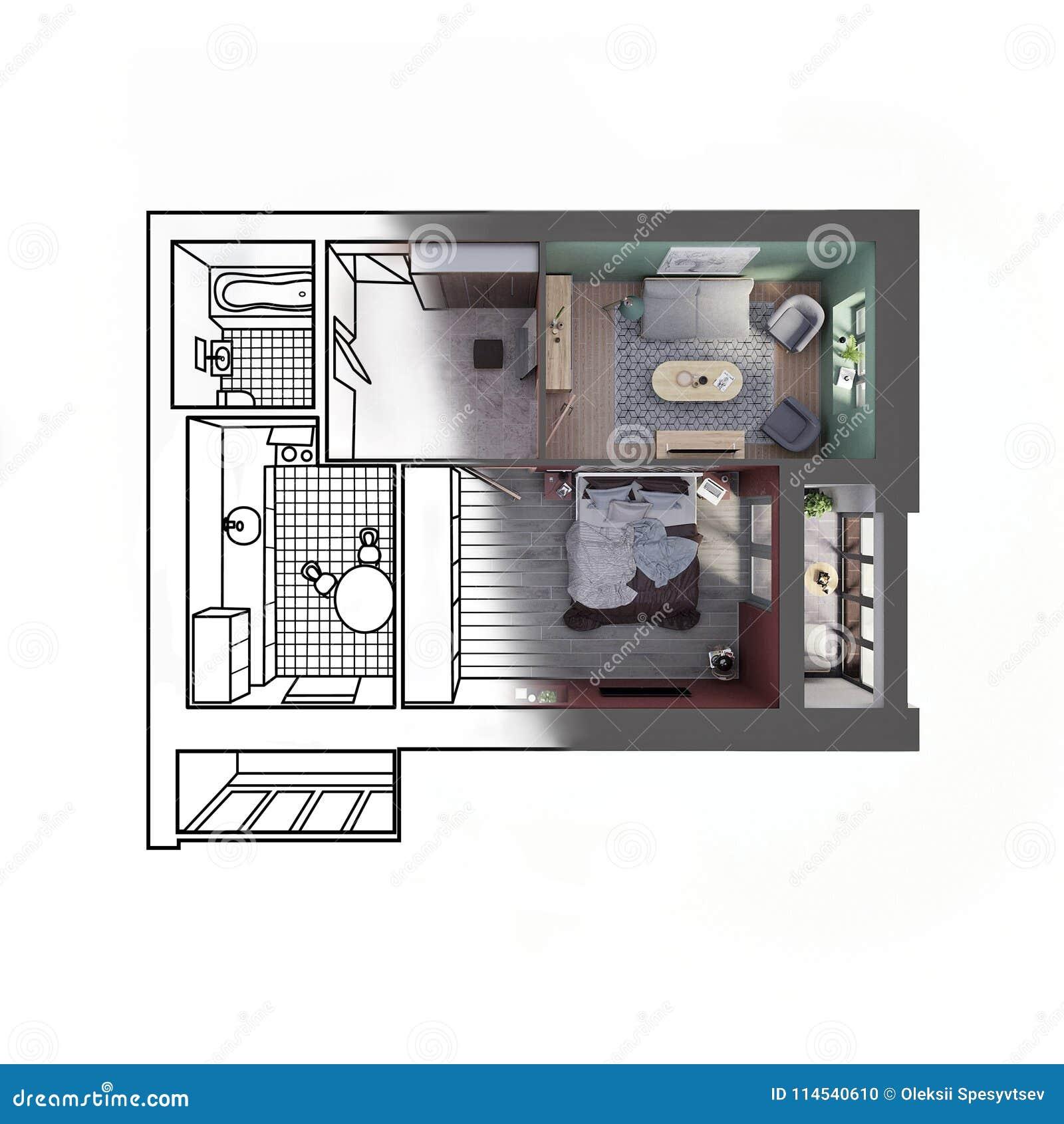 Bilder Von Modernen Schlafzimmern | Zeichnen Sie Skizze Einer Modernen Wohnung Mit Zwei Schlafzimmern