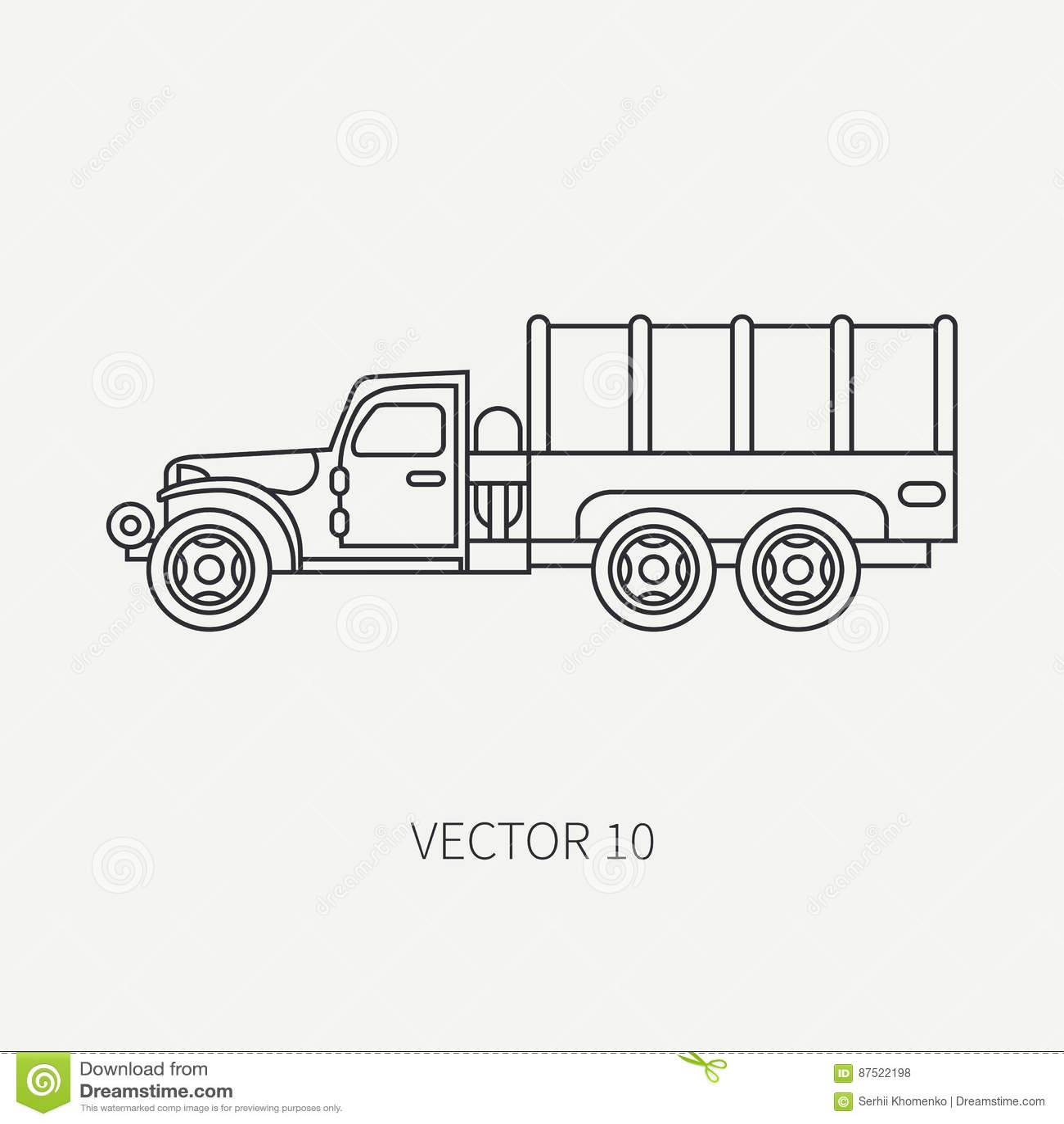 Zeichnen Sie Vektorikonenplanenlastwagen Armee Lkw Der