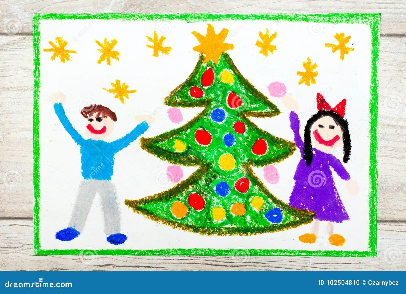 Zeichnen: Weihnachtsbaum des glücklichen Paars und