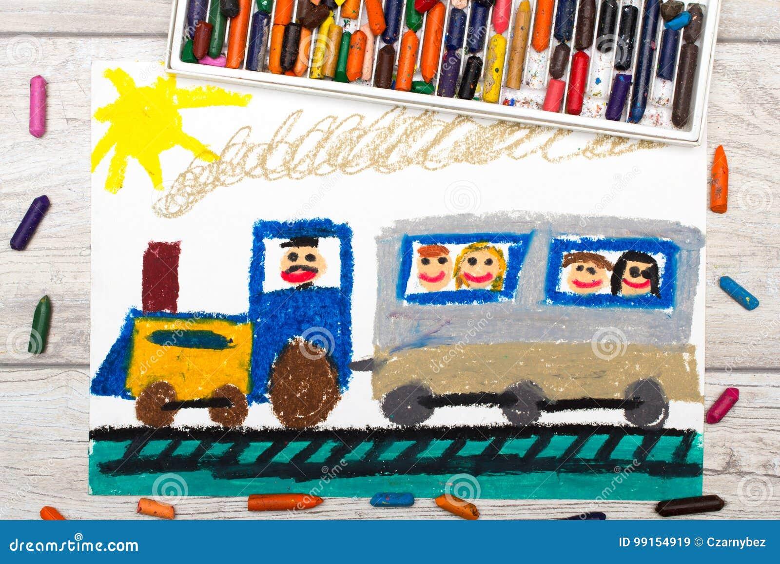 Zeichnen Zug Mit Lächelnden Passagieren Stockbild Bild Von Grün
