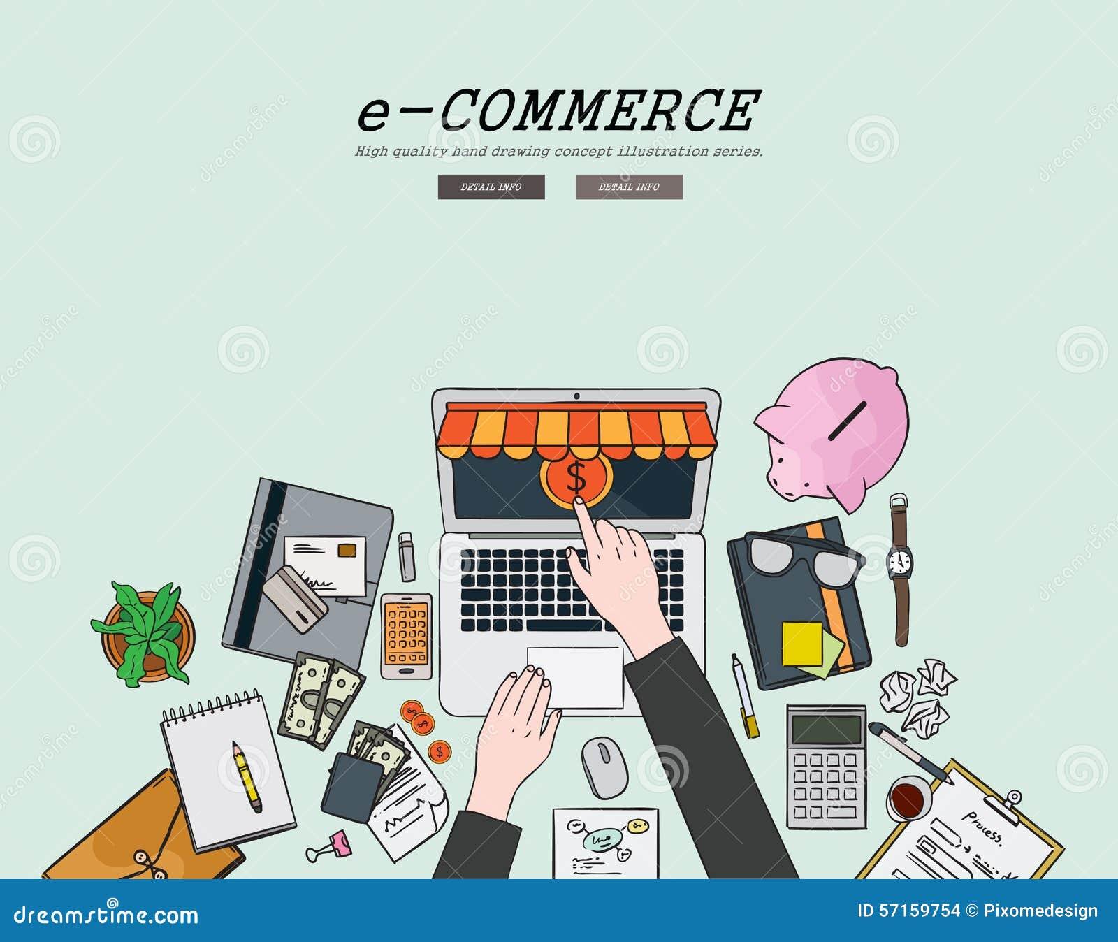 Zeichnendes flaches Designillustrations-E-Commerce-Konzept Konzepte für Netzfahnen und Promotionsmaterialien