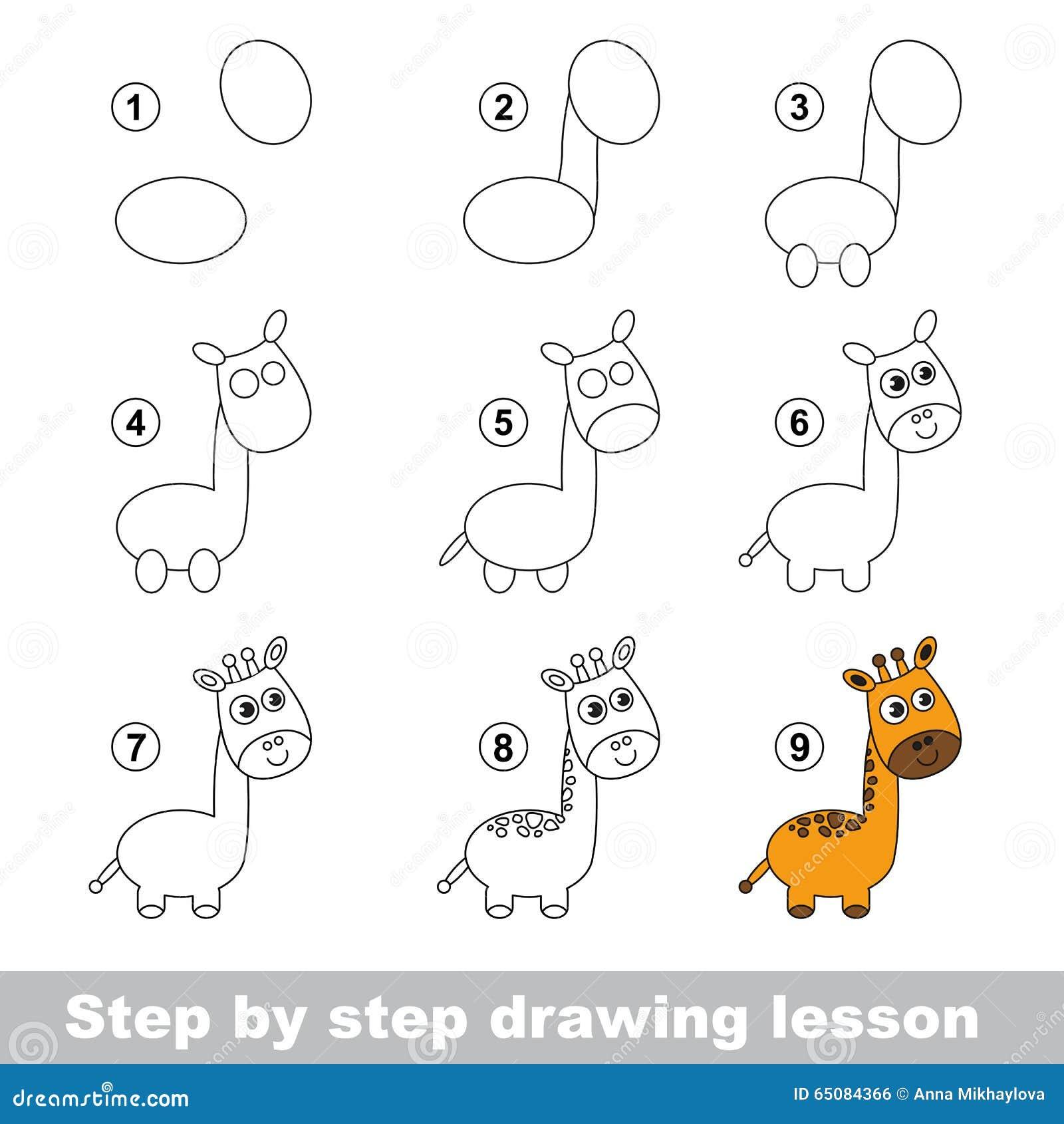 Zeichnendes Tutorium Wie Man Eine Giraffe Zeichnet Vektor ... - photo#28