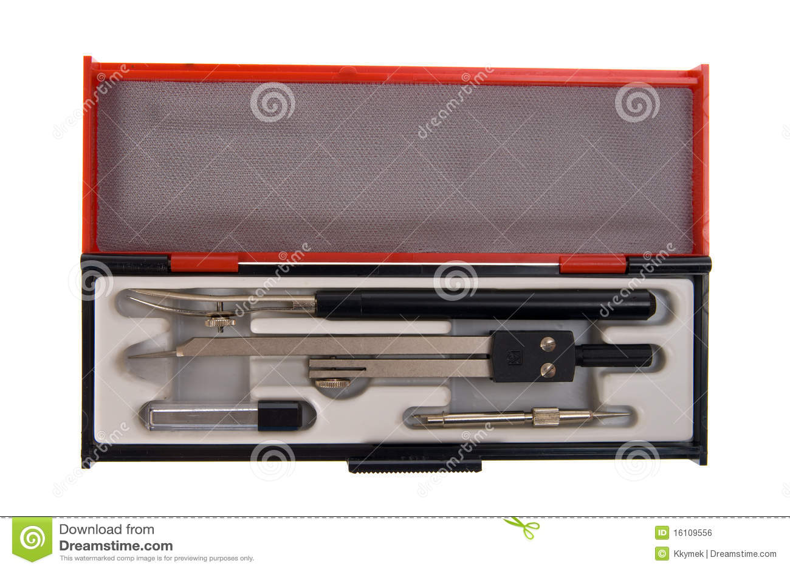 Zeichnenkompaß und Werkzeugkasten getrennt