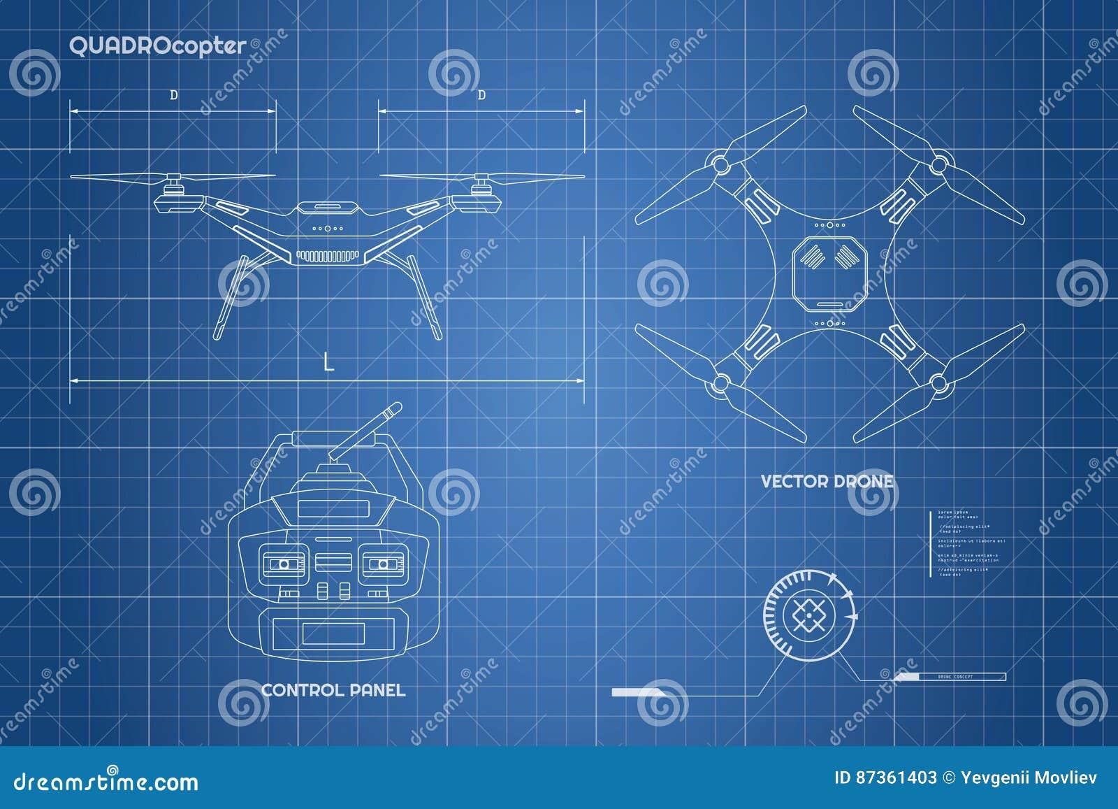 Zeichnung des Brummens Industrieller Plan das Bedienfeld von quadrocopter Vordere, Draufsicht