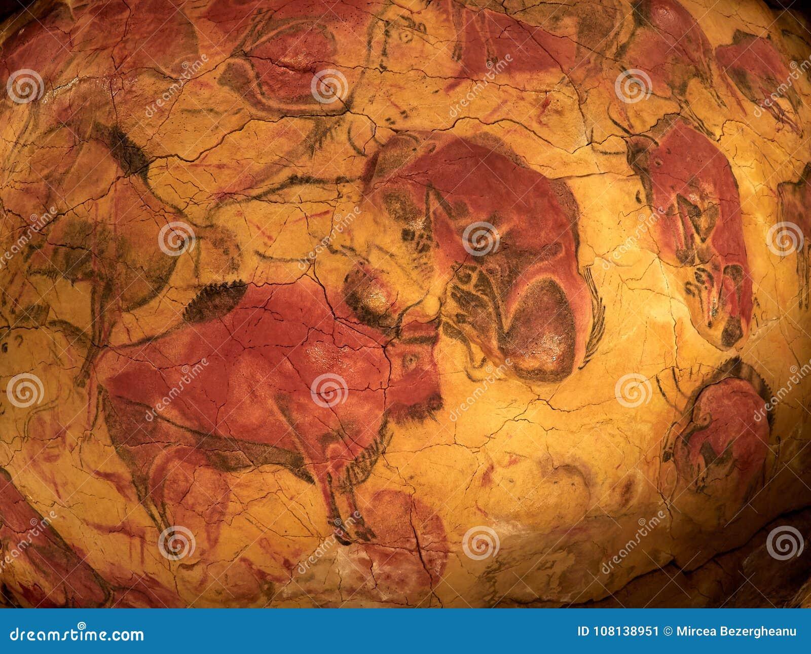Zeichnungen von der Decke von Altamira höhlen in Santillana Del Mar, Kantabrien, Spanien aus
