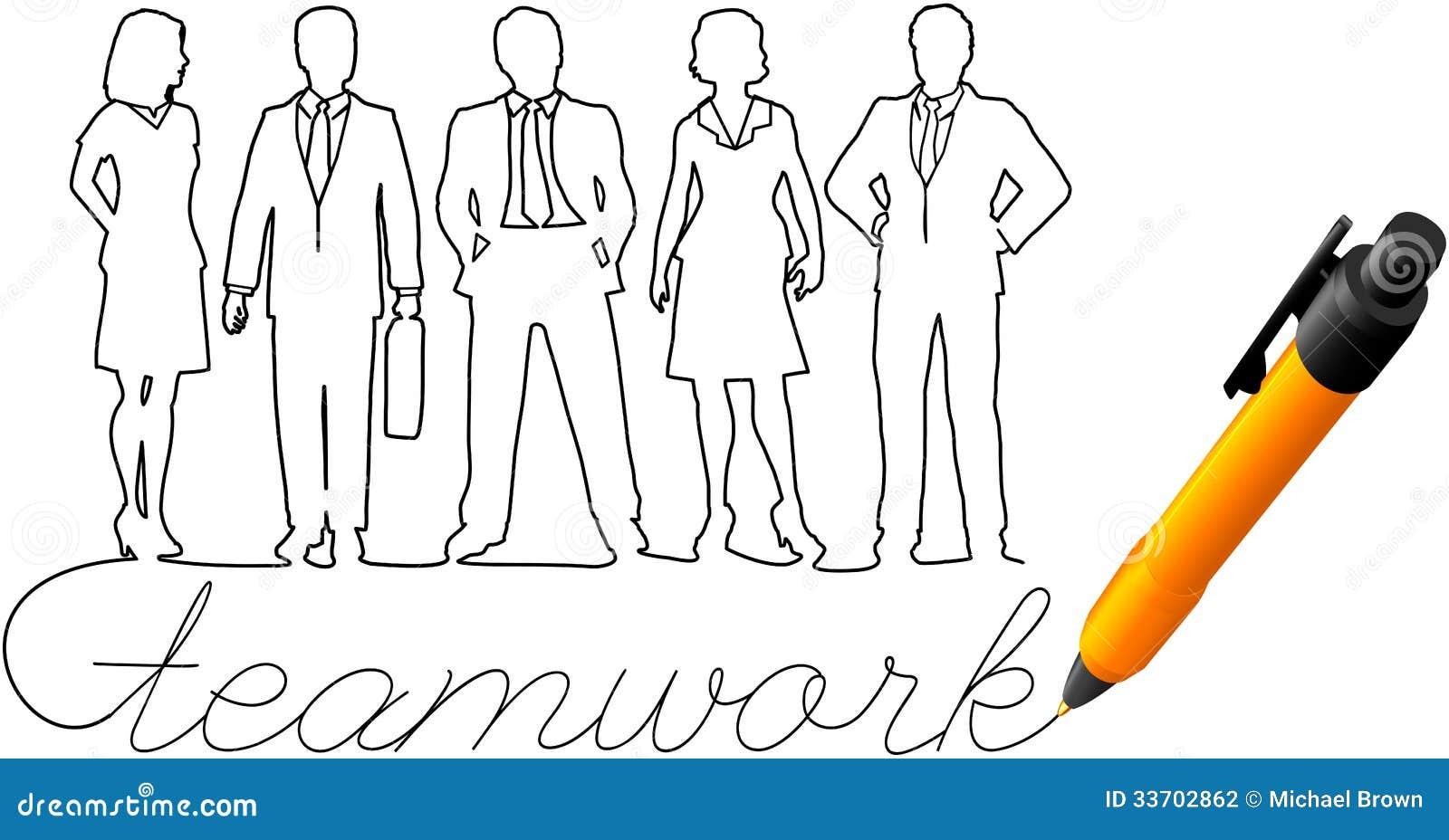 Zeichnungsgeschäftsteam-Arbeitsleute