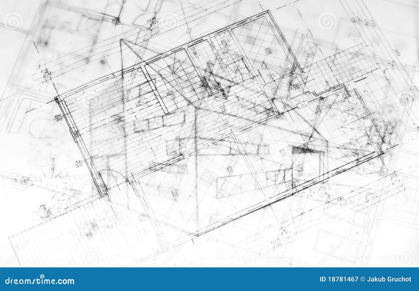 Zeichnungsod Ein Modernes Gebäude Architektur Plant Stockbild