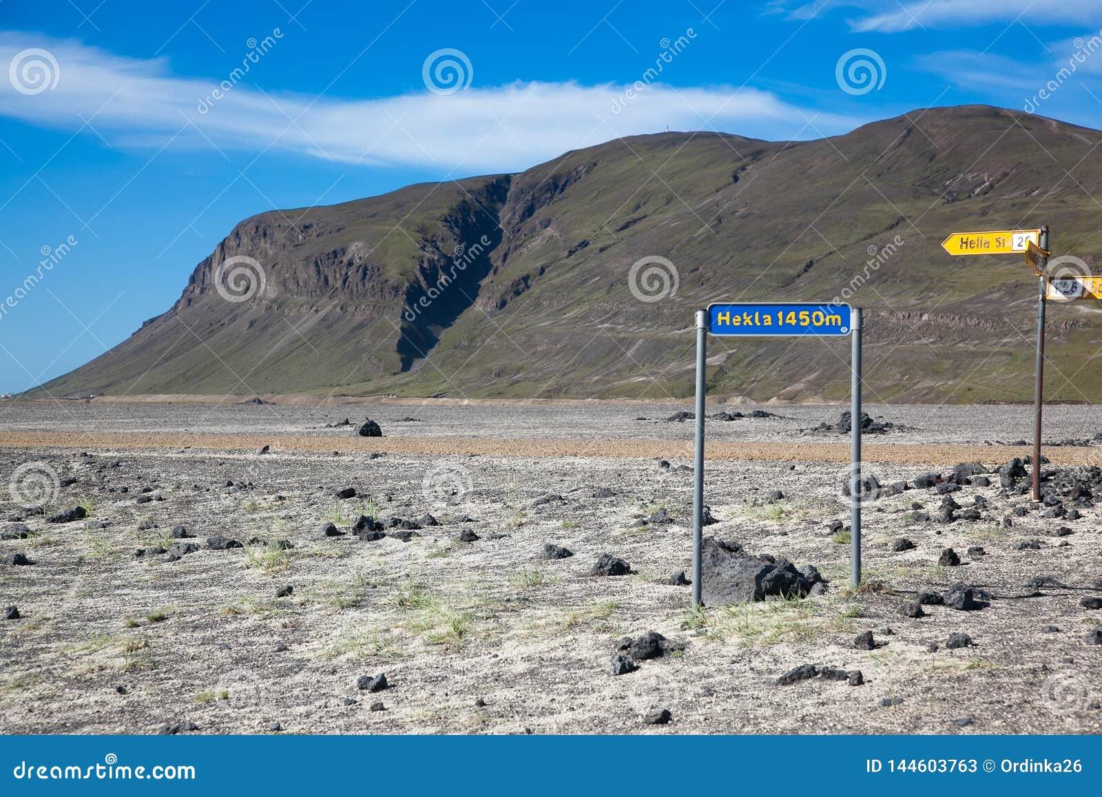 Zeiger zum Vulkan Hekla in Island