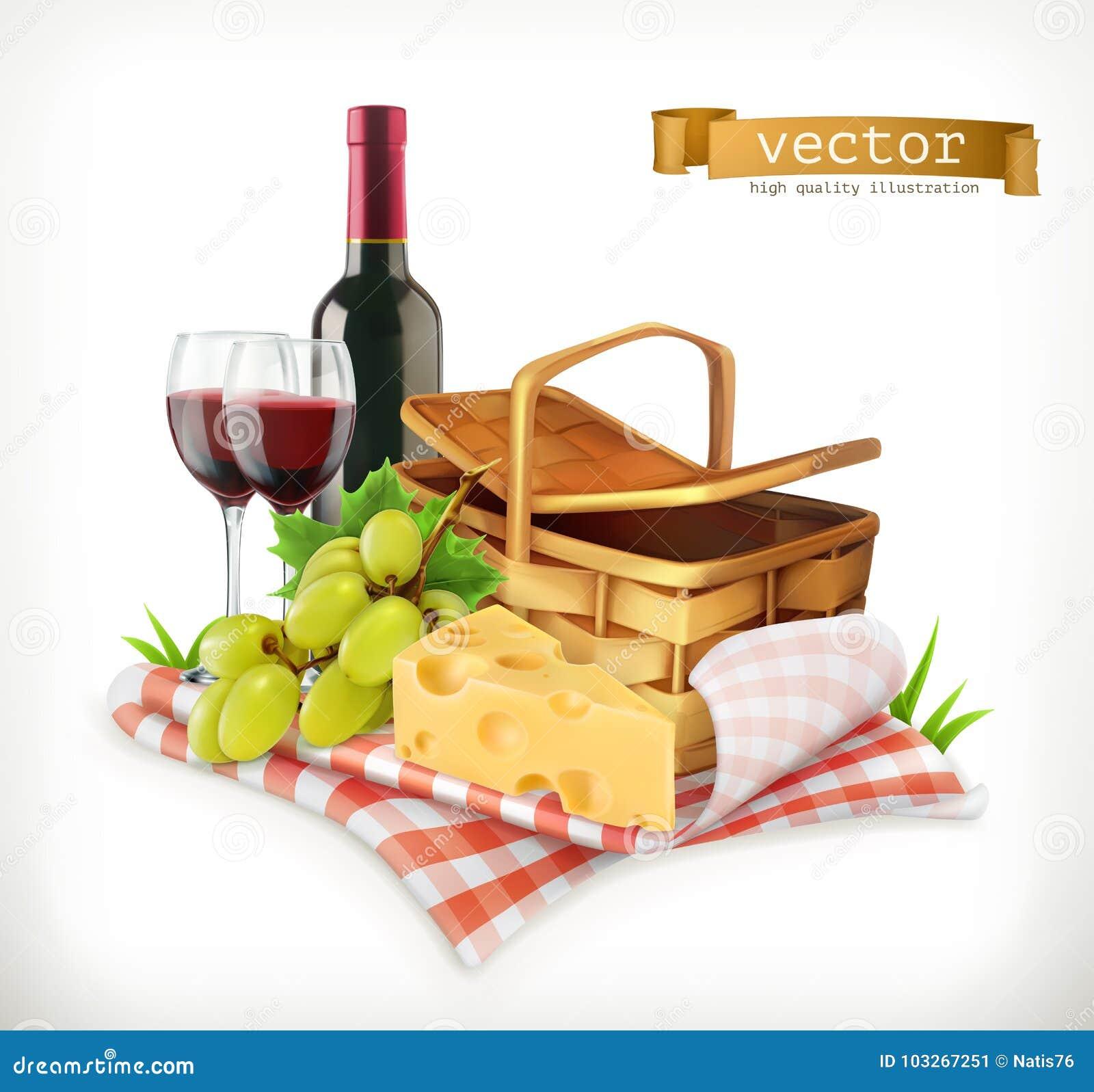 Zeit für ein Picknick, ein Tischdecken- und Picknickkorb, Weingläser, Käse und Trauben, Vektor illustratio