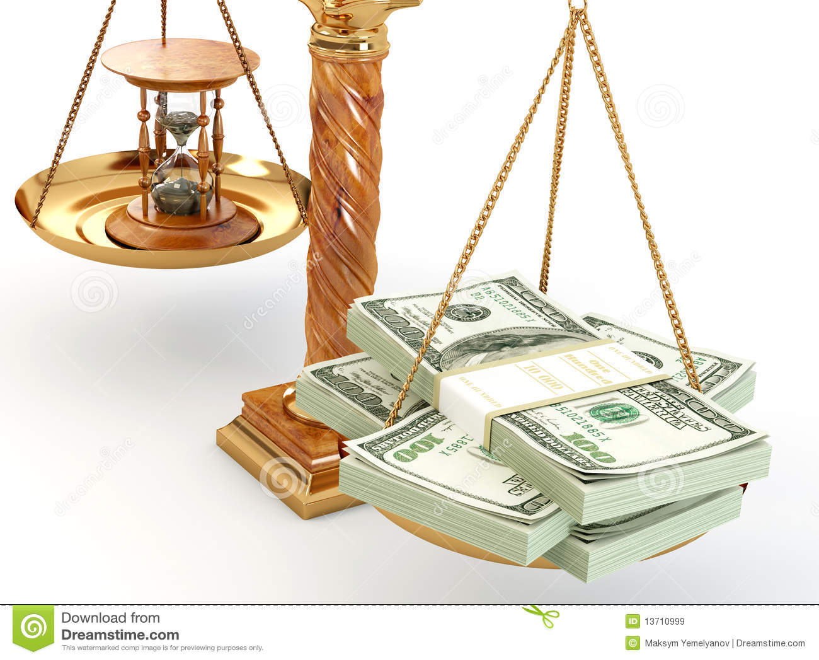 zeit ist geld geld und hourglass auf skala lizenzfreie stockbilder bild 13710999. Black Bedroom Furniture Sets. Home Design Ideas