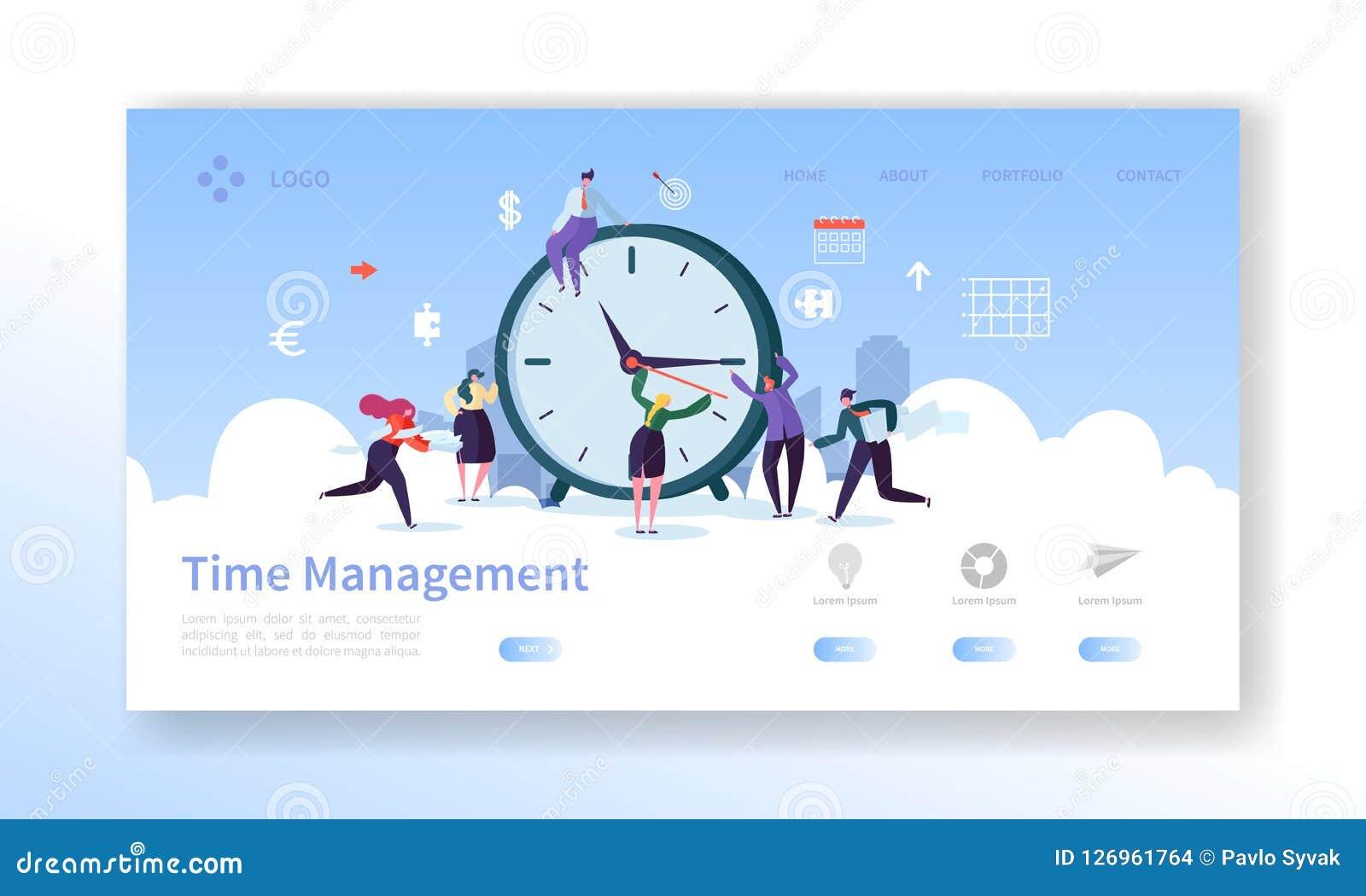 Zeit-Management-Landungs-Seiten-Schablone Planungs-und Strategie-Website-Plan mit flachen Leute-Charakteren und Uhr