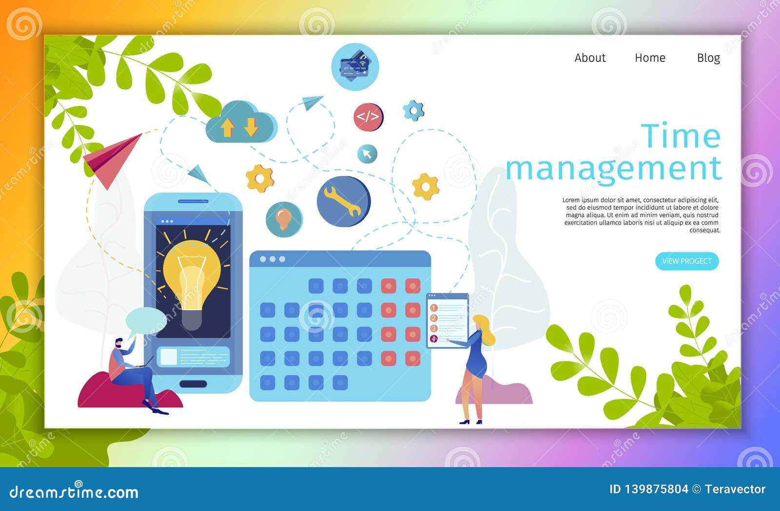 Zeit-Management-Online-Service-Ebenen-Vektor-Website