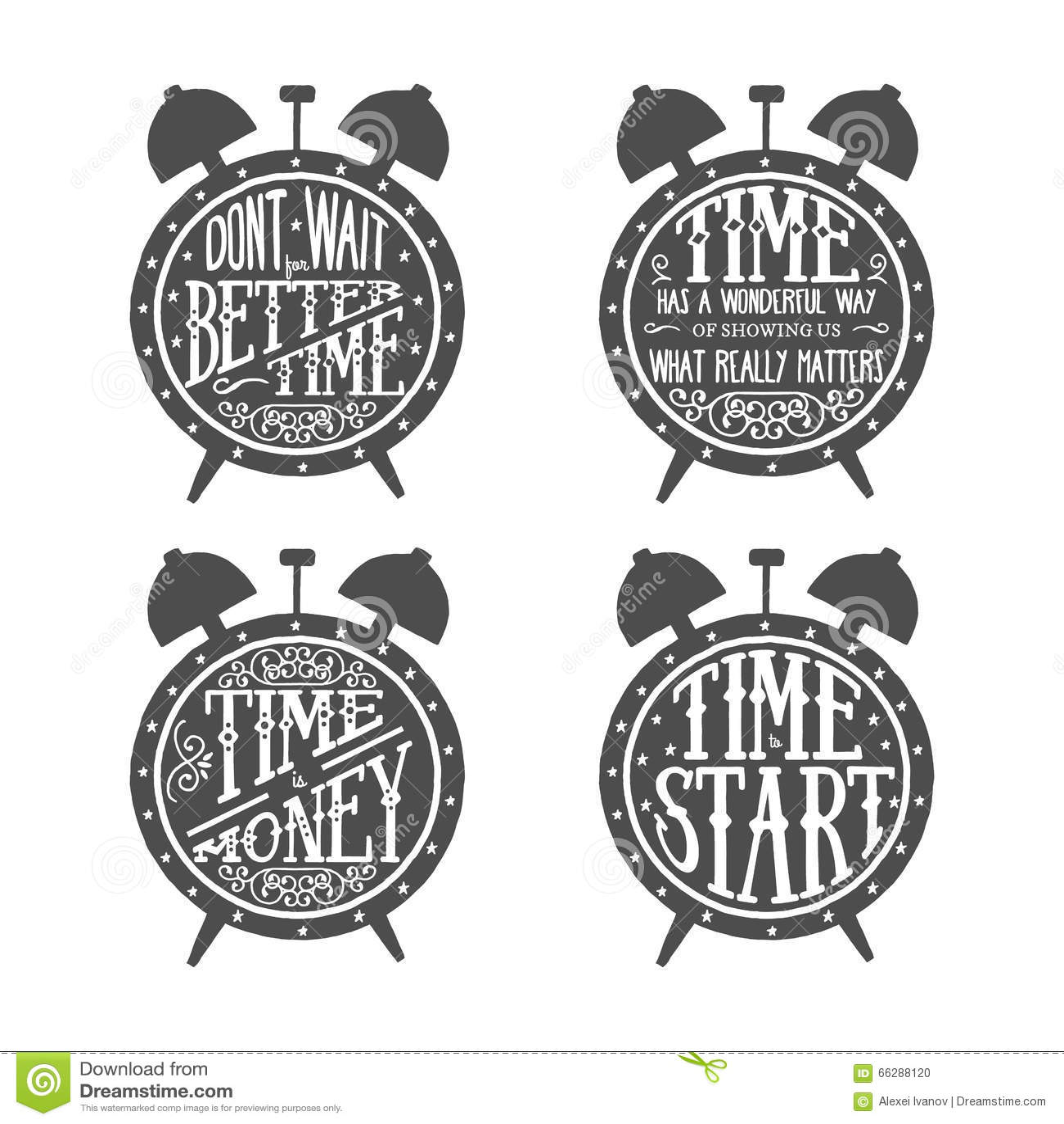 Zeit zitiert Beschriftung vektor abbildung. Illustration von borduhr ...