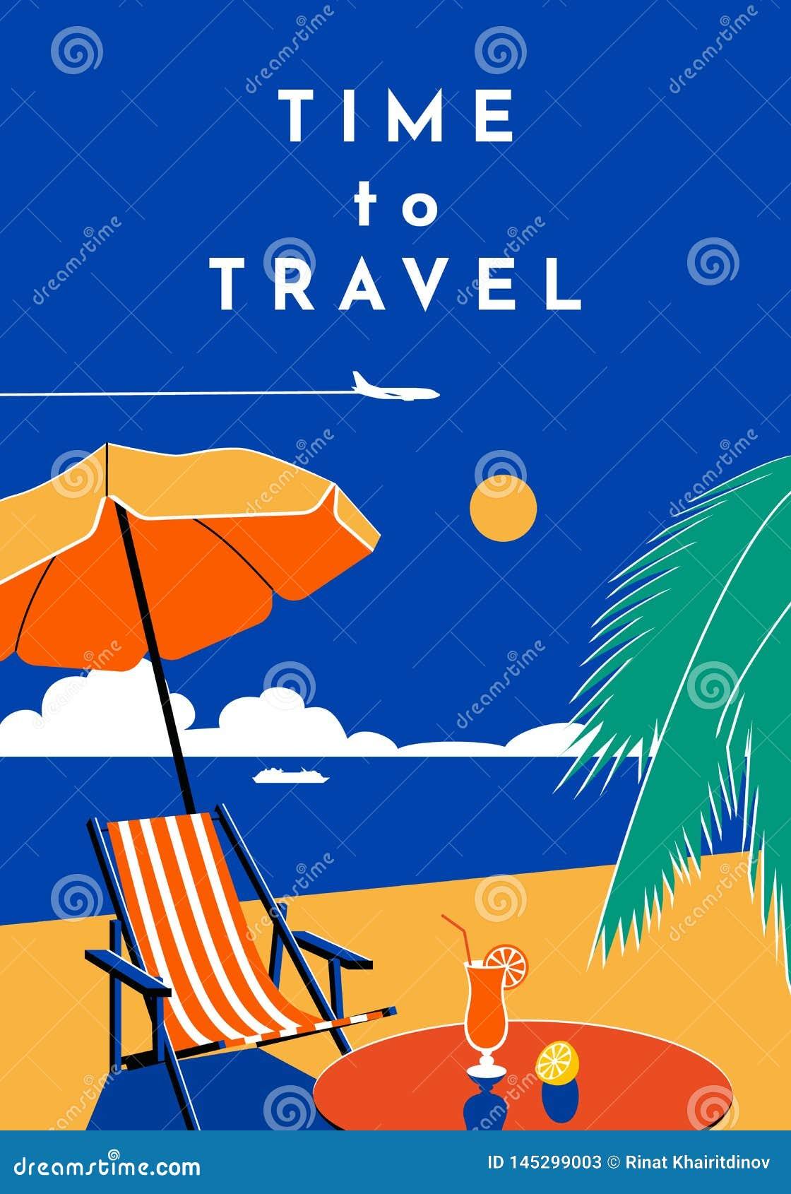 Zeit, zu reisen Plakat Sommerfahne mit Strand und Meer Flache Illustration des Vektors
