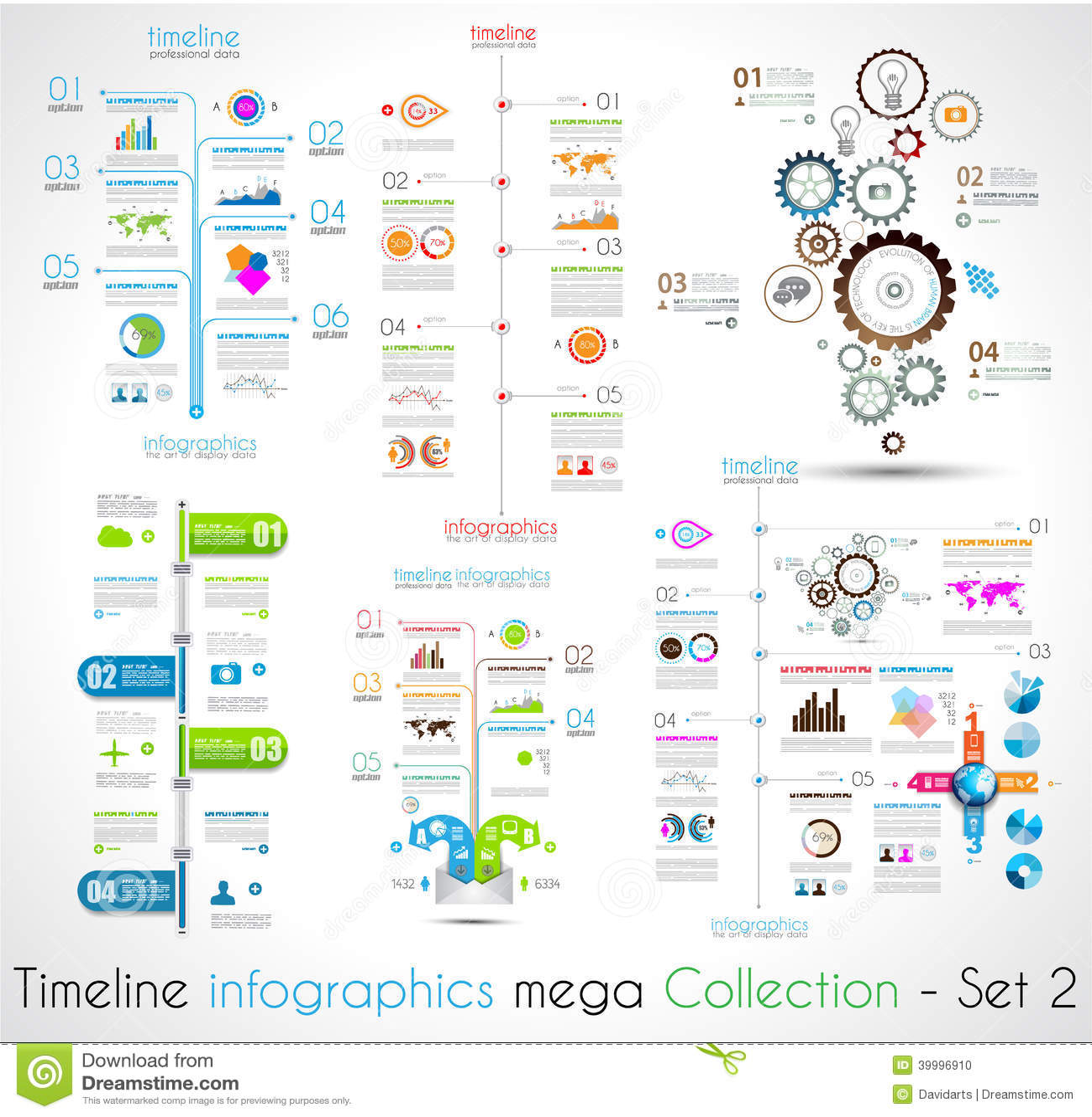 Zeitachse Infographic-Designschablonen stellten 2 ein