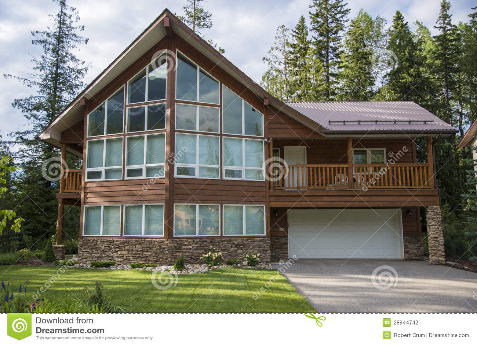 Zeitgenössische Häuser Im Skiort Stockfoto - Bild von haus ...