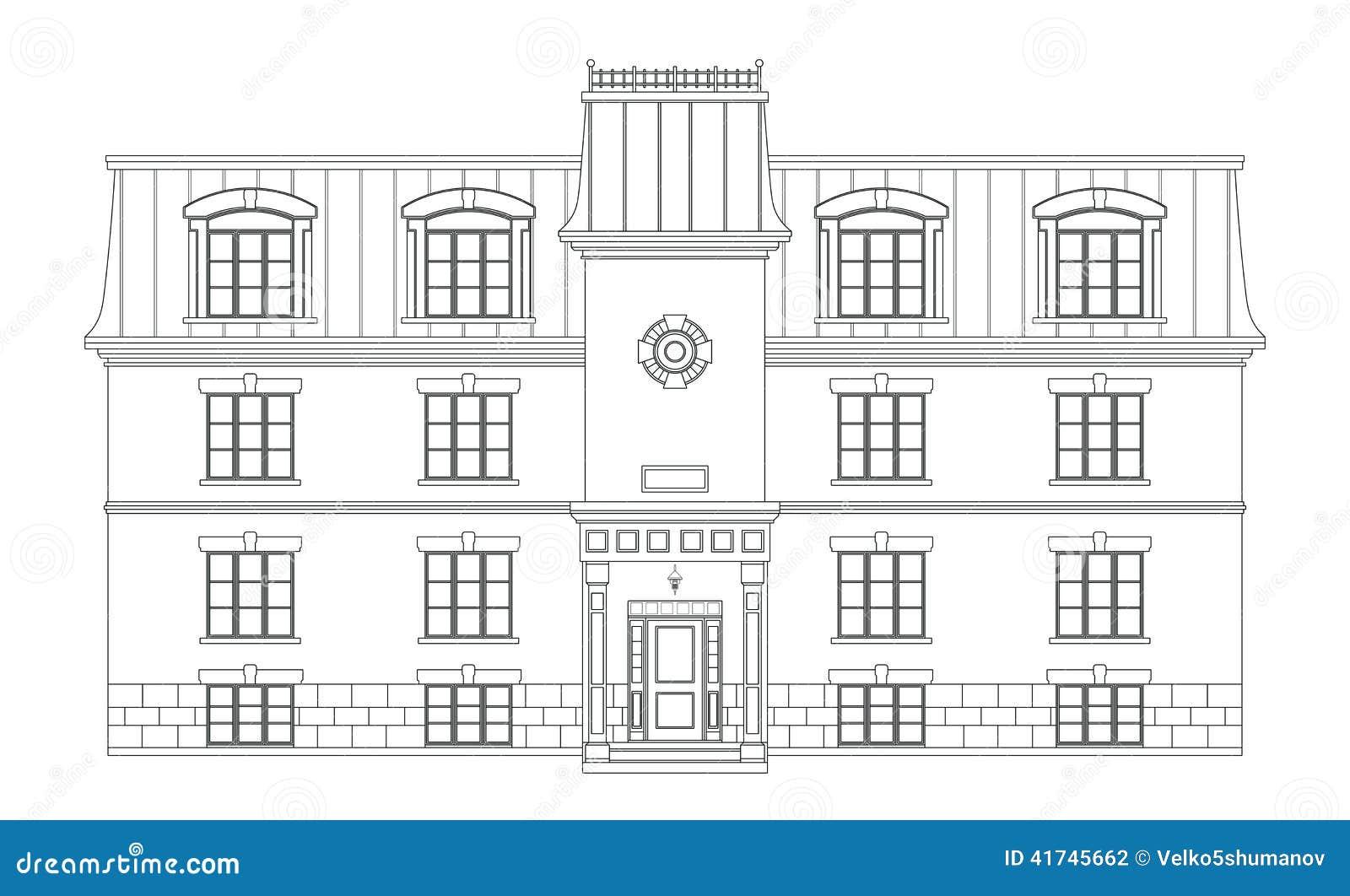Zeitgenössische Hauszeichnung Stock Abbildung - Illustration von ...