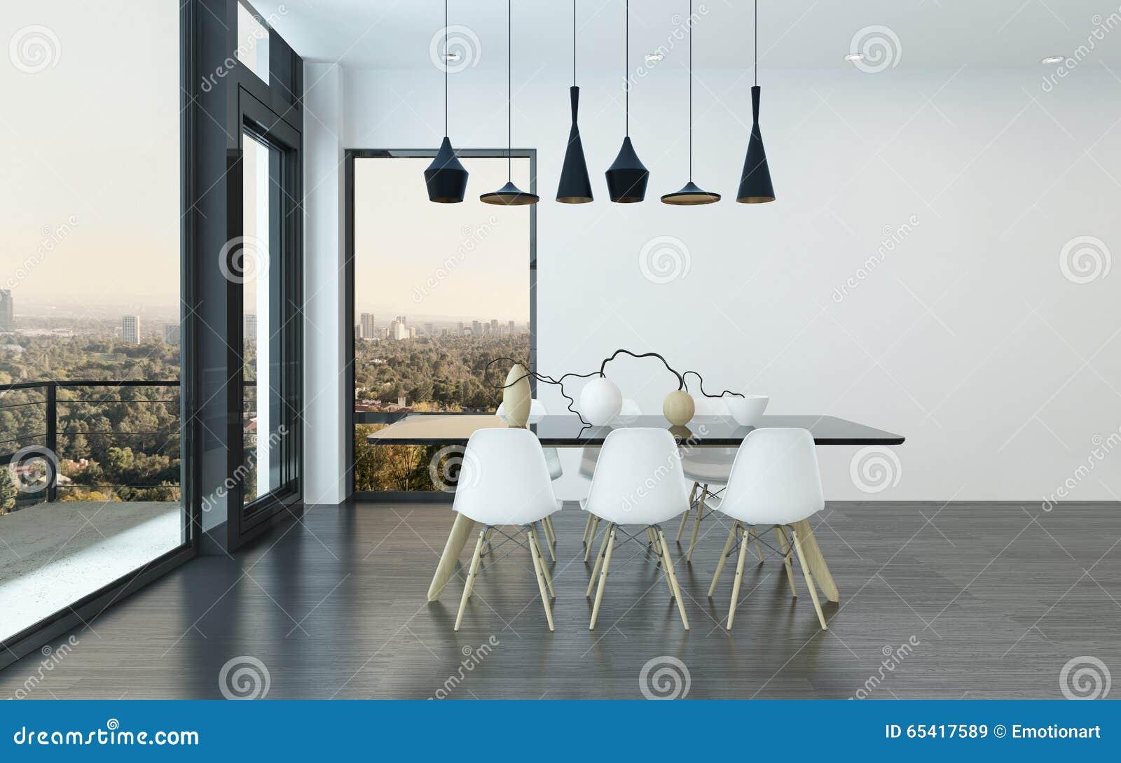 Zeitgenössische Speisende Ecke In Einem Wohnzimmer Stock Abbildung ...