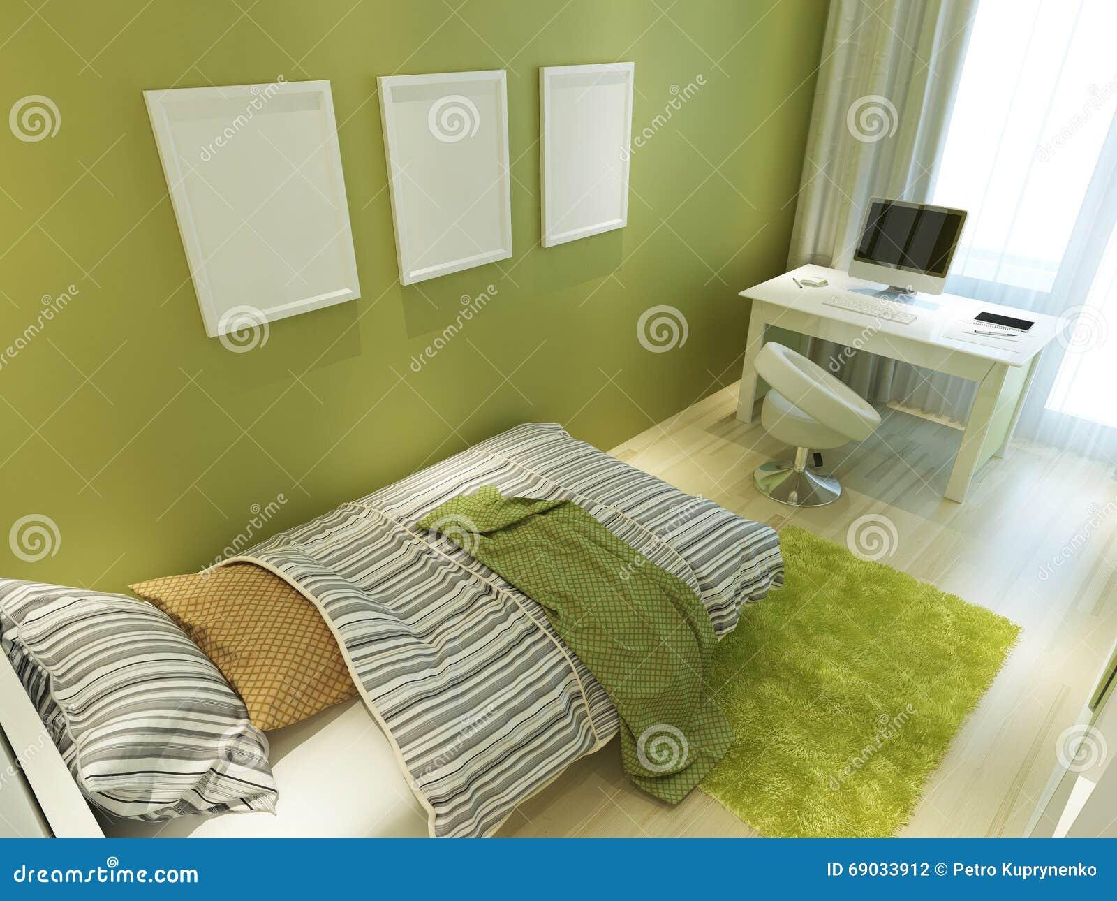 Zeitgenössischer Jugendlich Raum Für Grüne Farbe Mit Einem Bett Und ...
