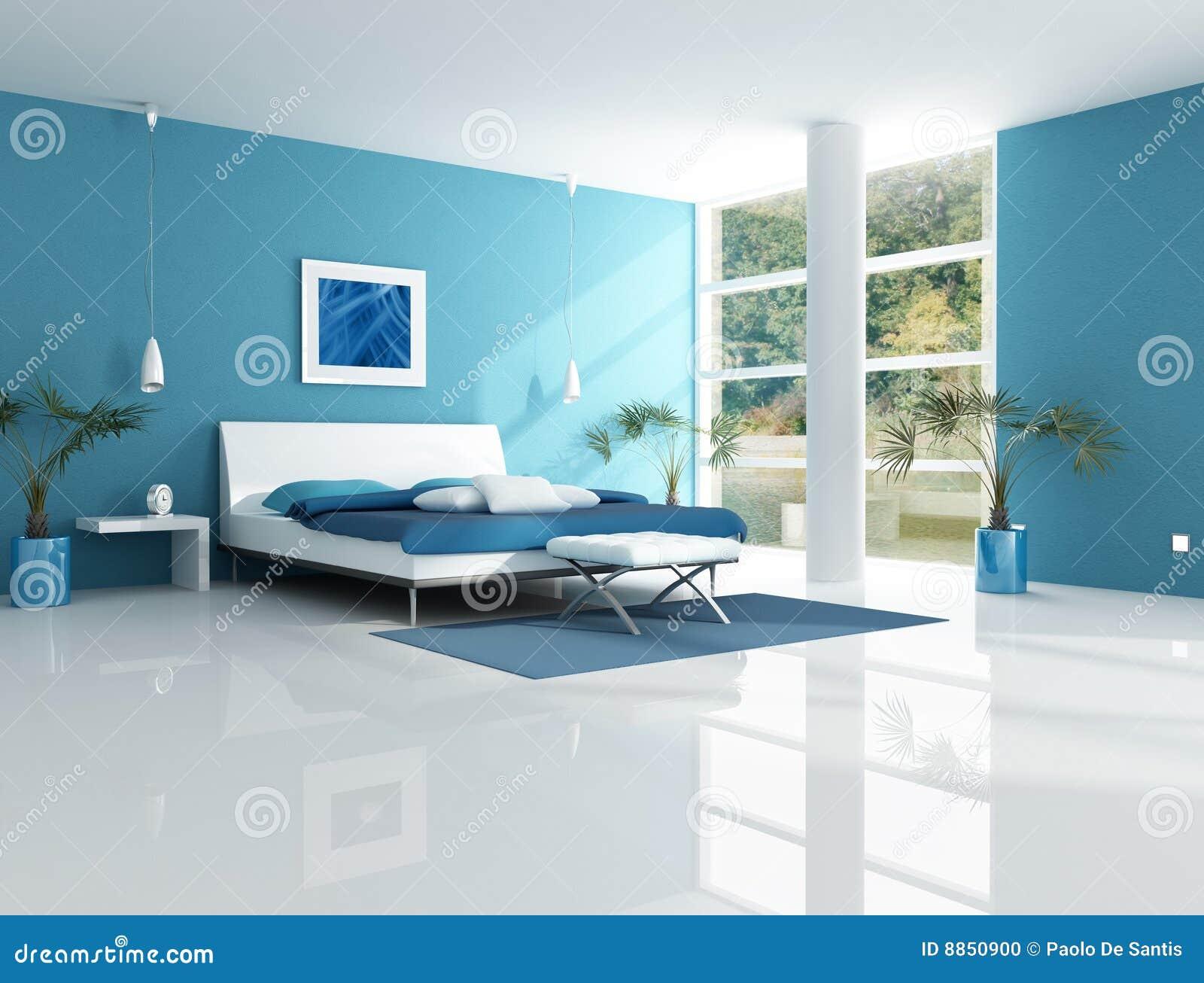 Zeitgenössisches Blaues Schlafzimmer