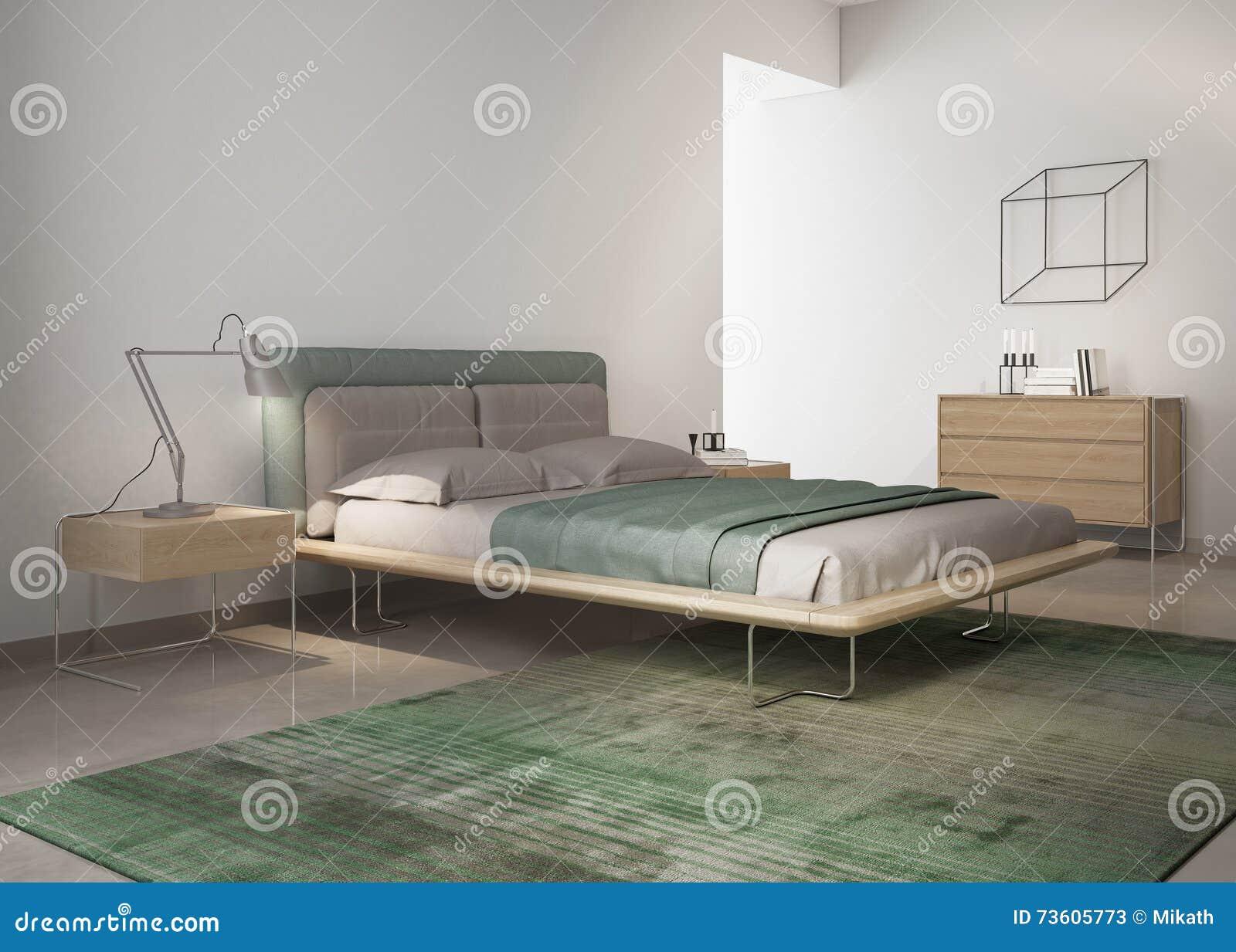 Zeitgenössisches Grünes Schlafzimmer Stockbild - Bild von kunst ...