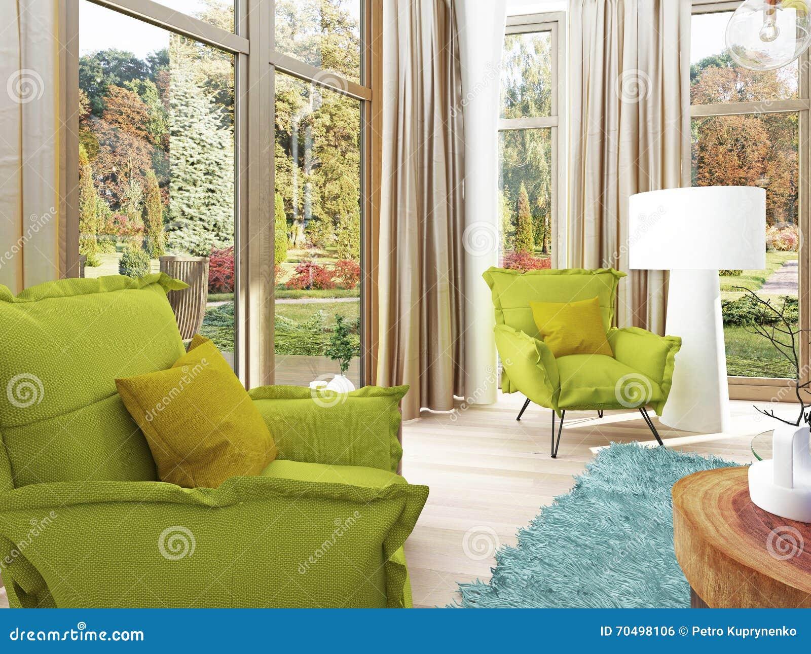 Zeitgenössisches Wohnzimmer Mit Einer Sitzecke Mit Zwei Stühlen ...