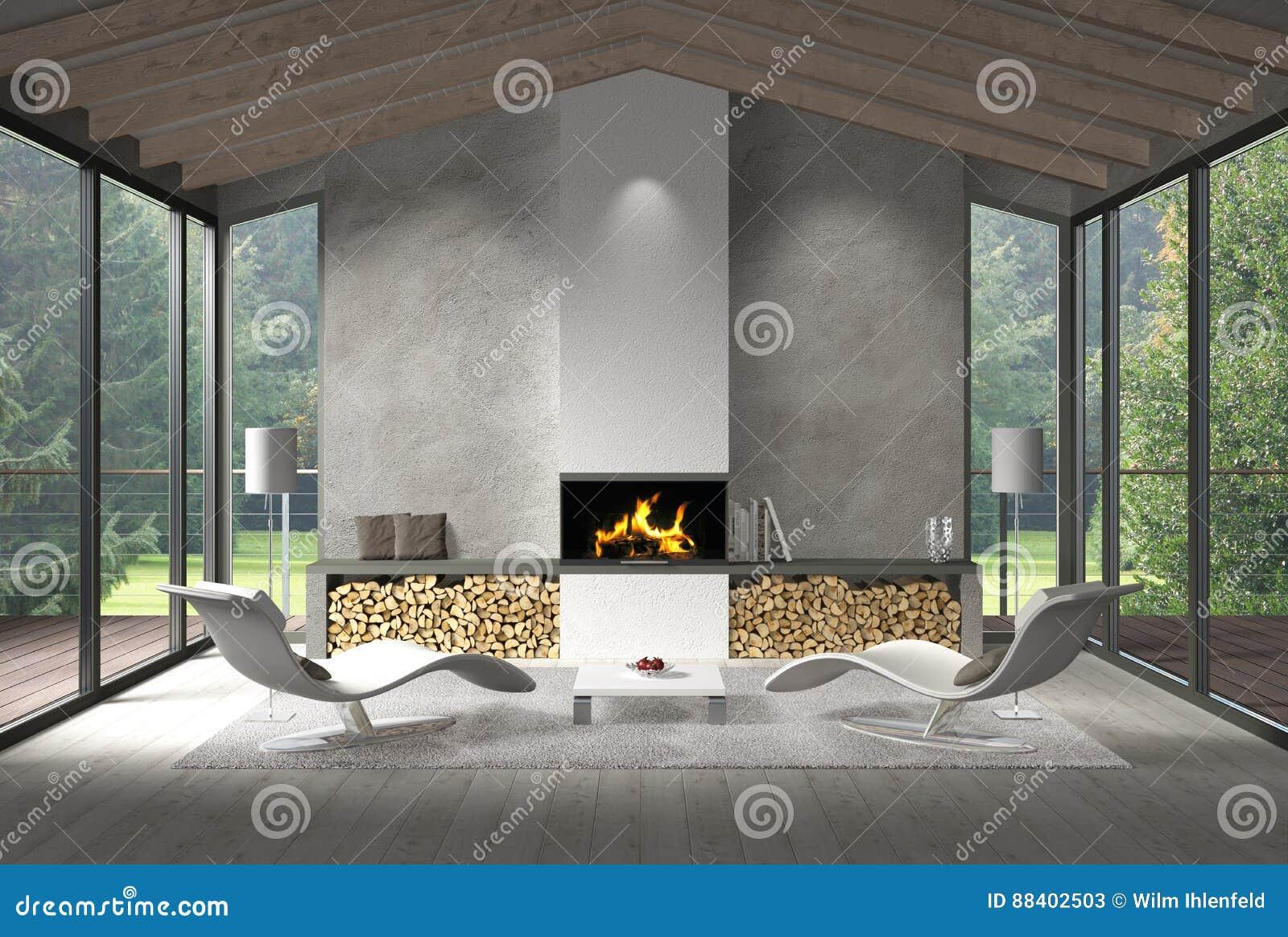 Zeitgenössisches Wohnzimmer Mit Glasfront Und Garten Stock Abbildung ...