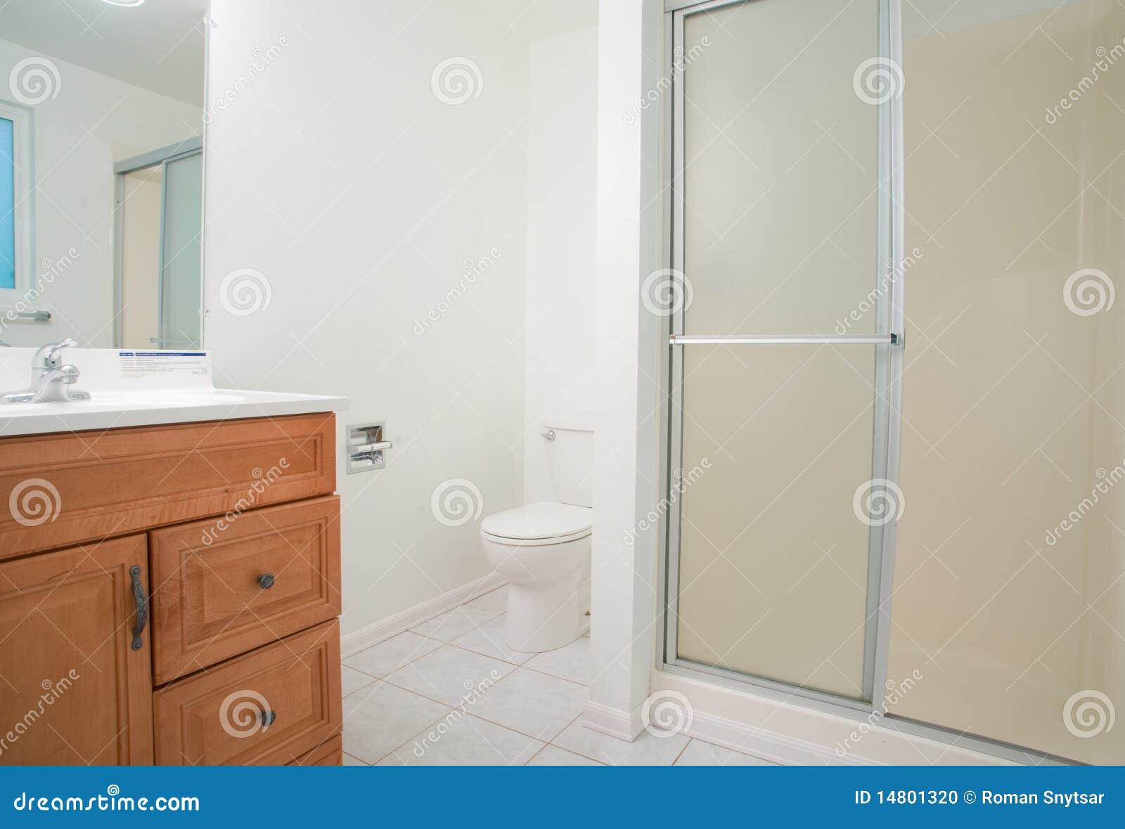 zeitgenössisches badezimmer mit großer dusche stockfoto - bild, Hause ideen