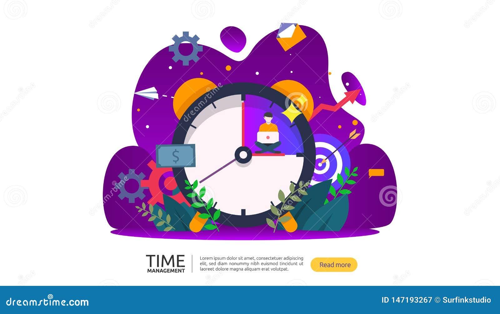 Zeitmanagement und Aufschubkonzept Planung und Strategie f?r Gesch?ftsl?sungen mit Uhr, Kalender und kleinen Leuten