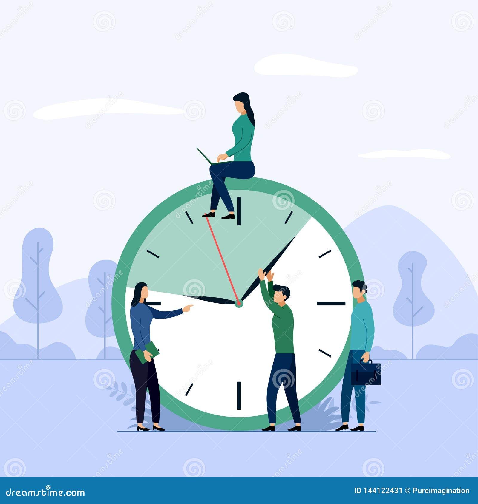 Zeitmanagement, Zeitplankonzept oder Planer, Geschäftskonzept-Vektorillustration
