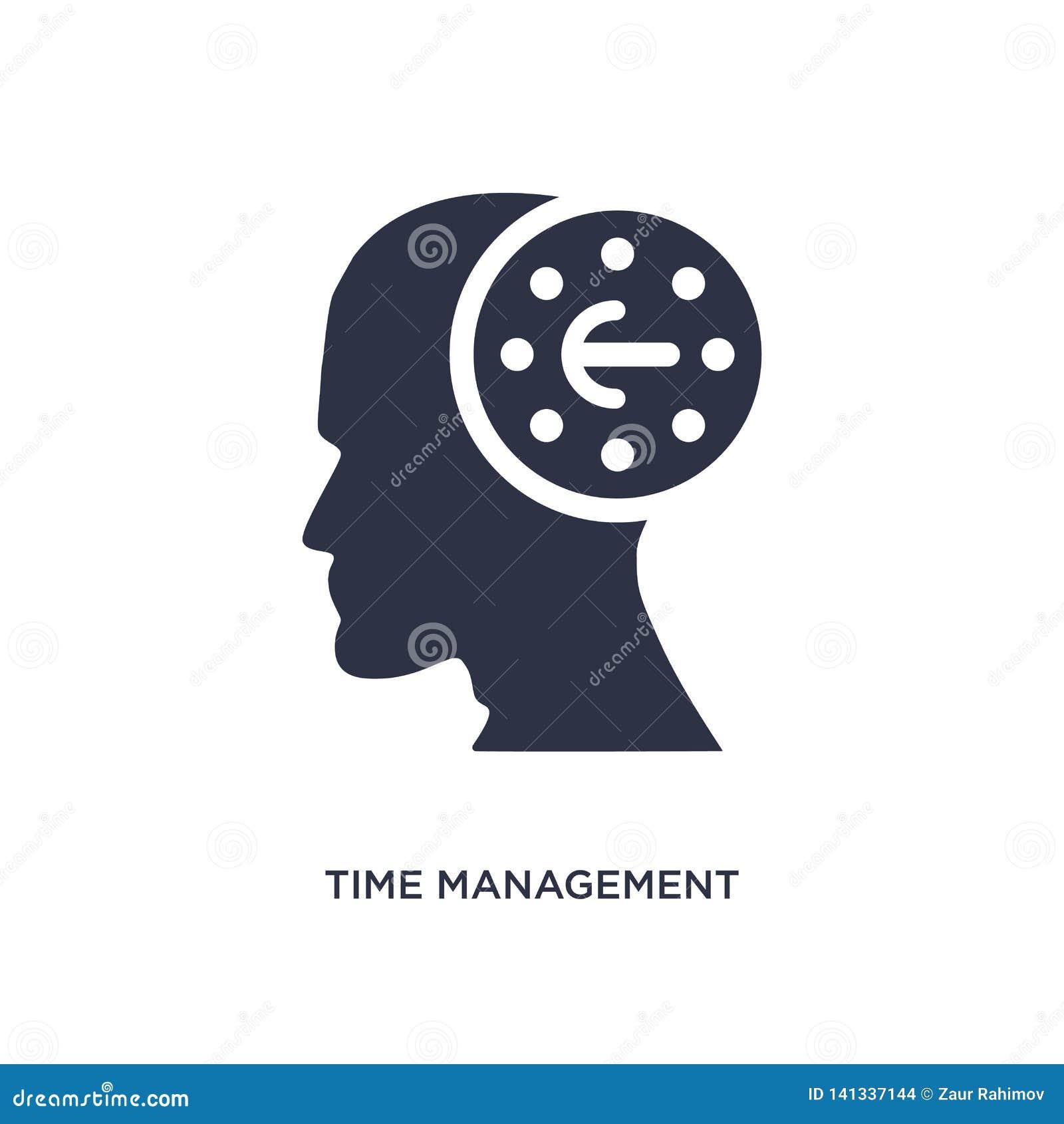 Zeitmanagementikone auf weißem Hintergrund Einfache Elementillustration vom Gehirnprozesskonzept