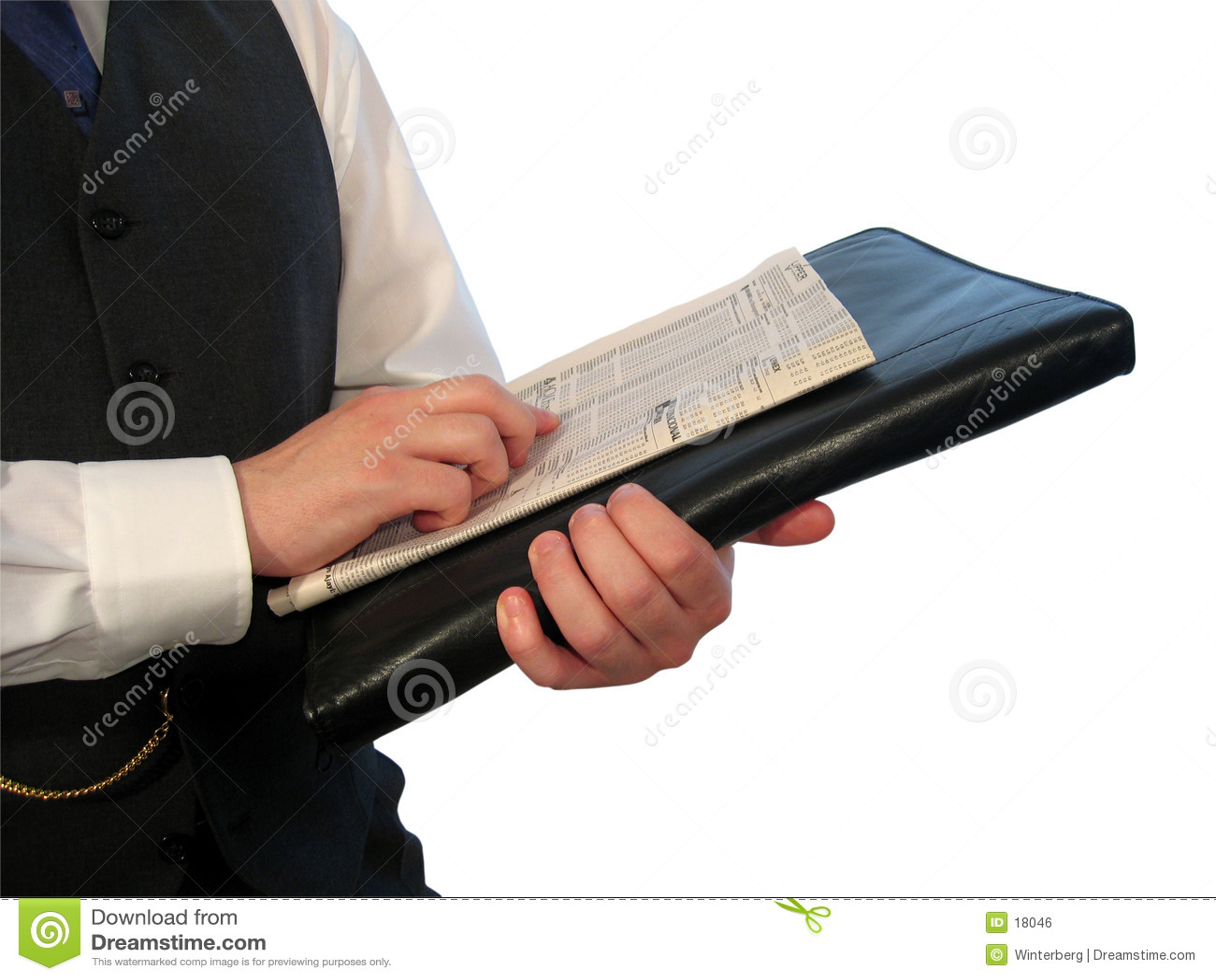 Zeitung auf Aktenkoffer