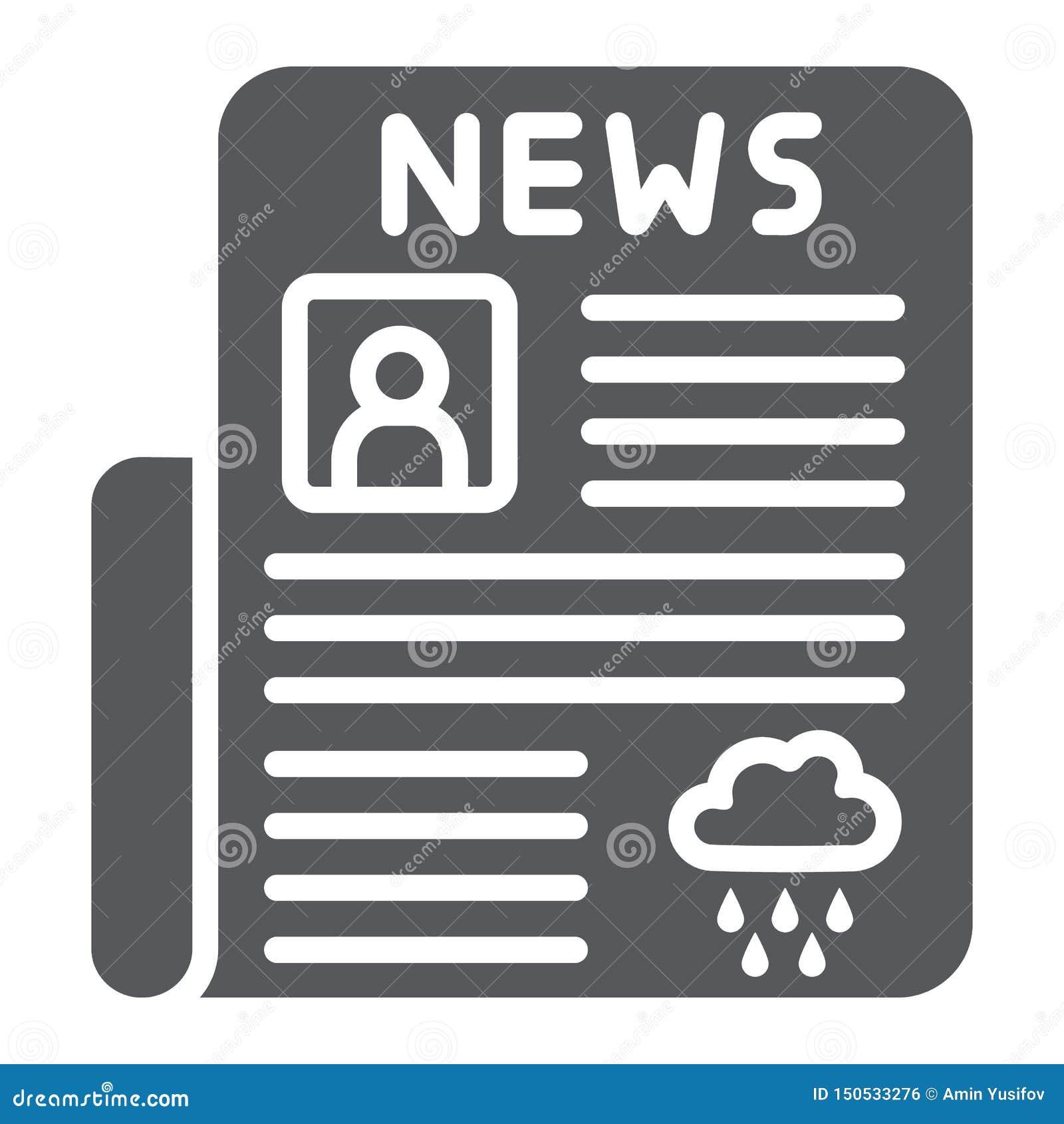 Zeitung Glyphikone, Seite und Presse, tägliches Nachrichtenzeichen, Vektorgrafik, ein festes Muster auf einem weißen Hintergrund