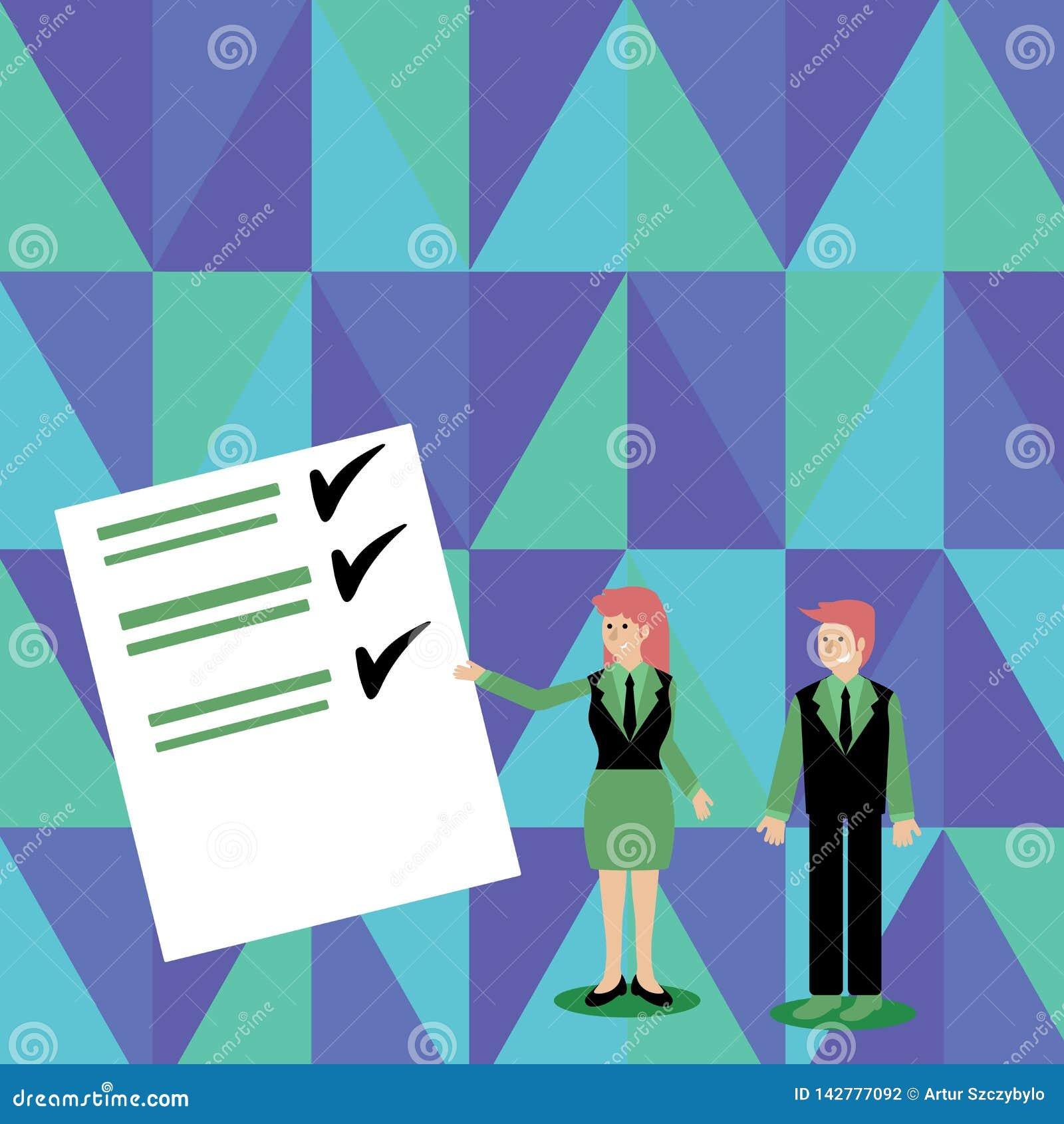 Zekere Man en Vrouw in Pak Status, Gesturing en het Voorleggen van Gegevensrapport over Kleurenraad creatief