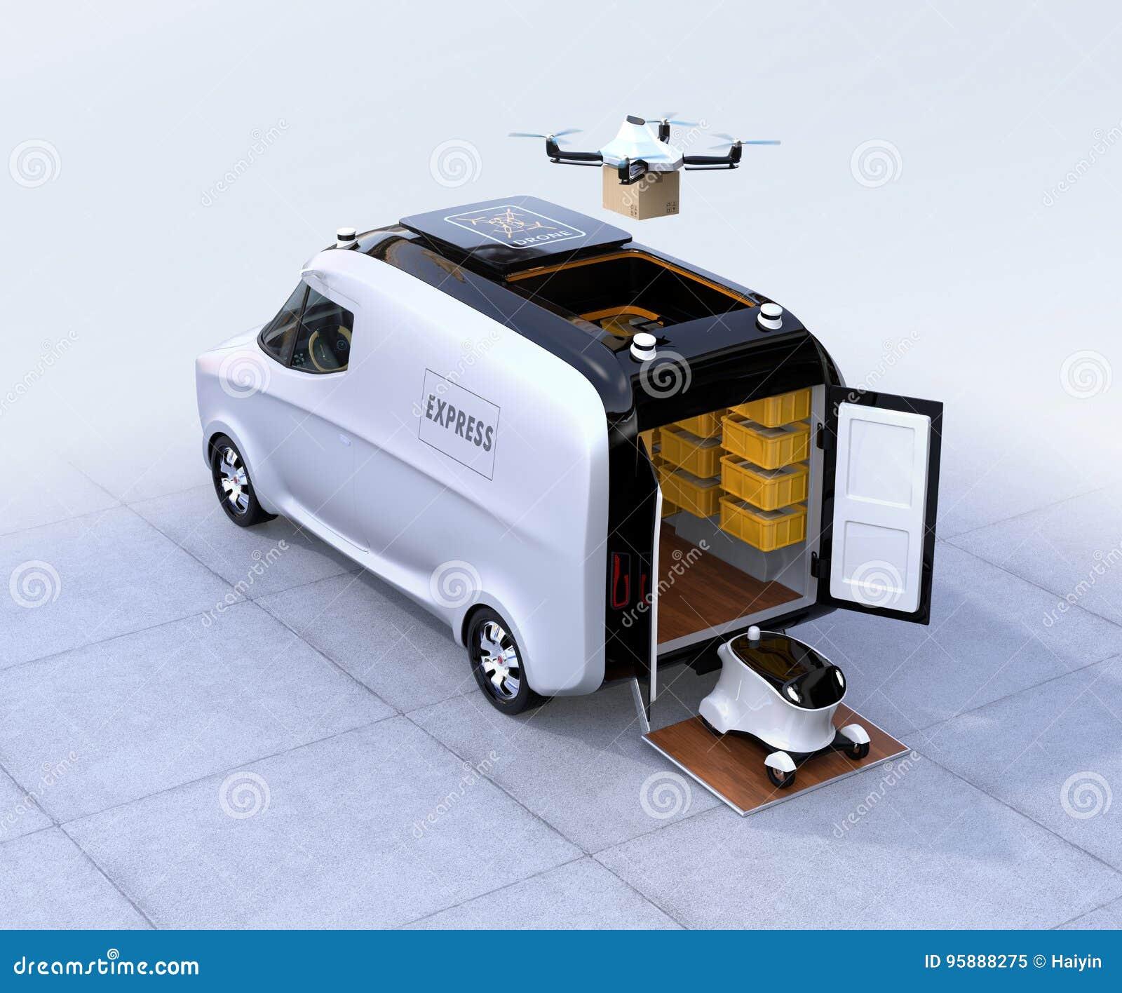 Zelf-drijft bestelwagen, hommel en robot
